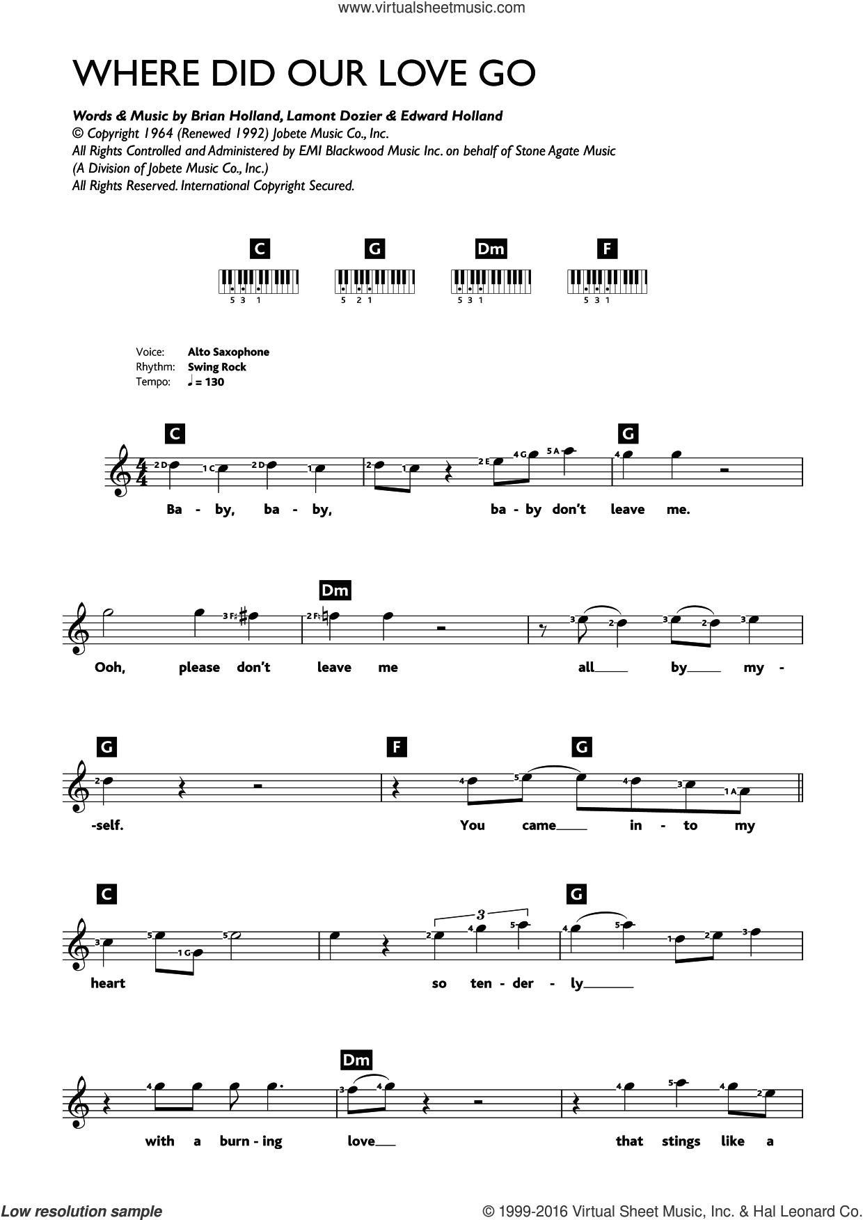 Where Did Our Love Go sheet music for piano solo (chords, lyrics, melody) by The Supremes, Brian Holland, Eddie Holland and Lamont Dozier. Score Image Preview.