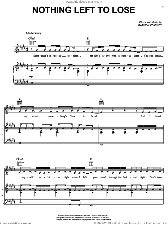 Nothing Left To Lose sheet music for voice, piano or guitar by Mat Kearney and Mathew Kearney, intermediate. Score Image Preview.