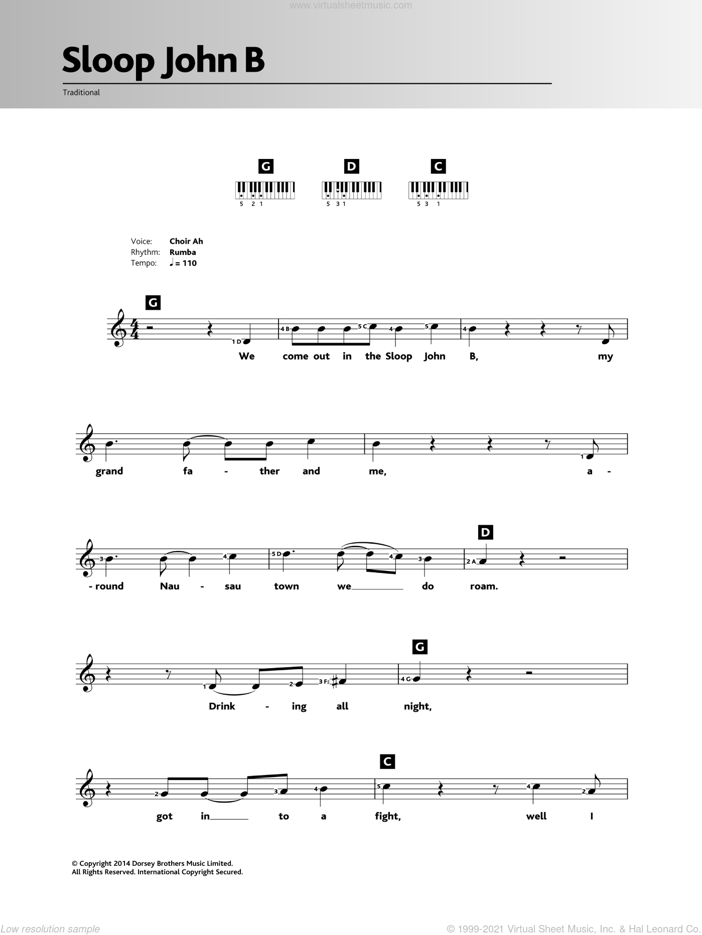 Sloop John B sheet music for piano solo (chords, lyrics, melody)  and The Beach Boys, intermediate piano (chords, lyrics, melody). Score Image Preview.
