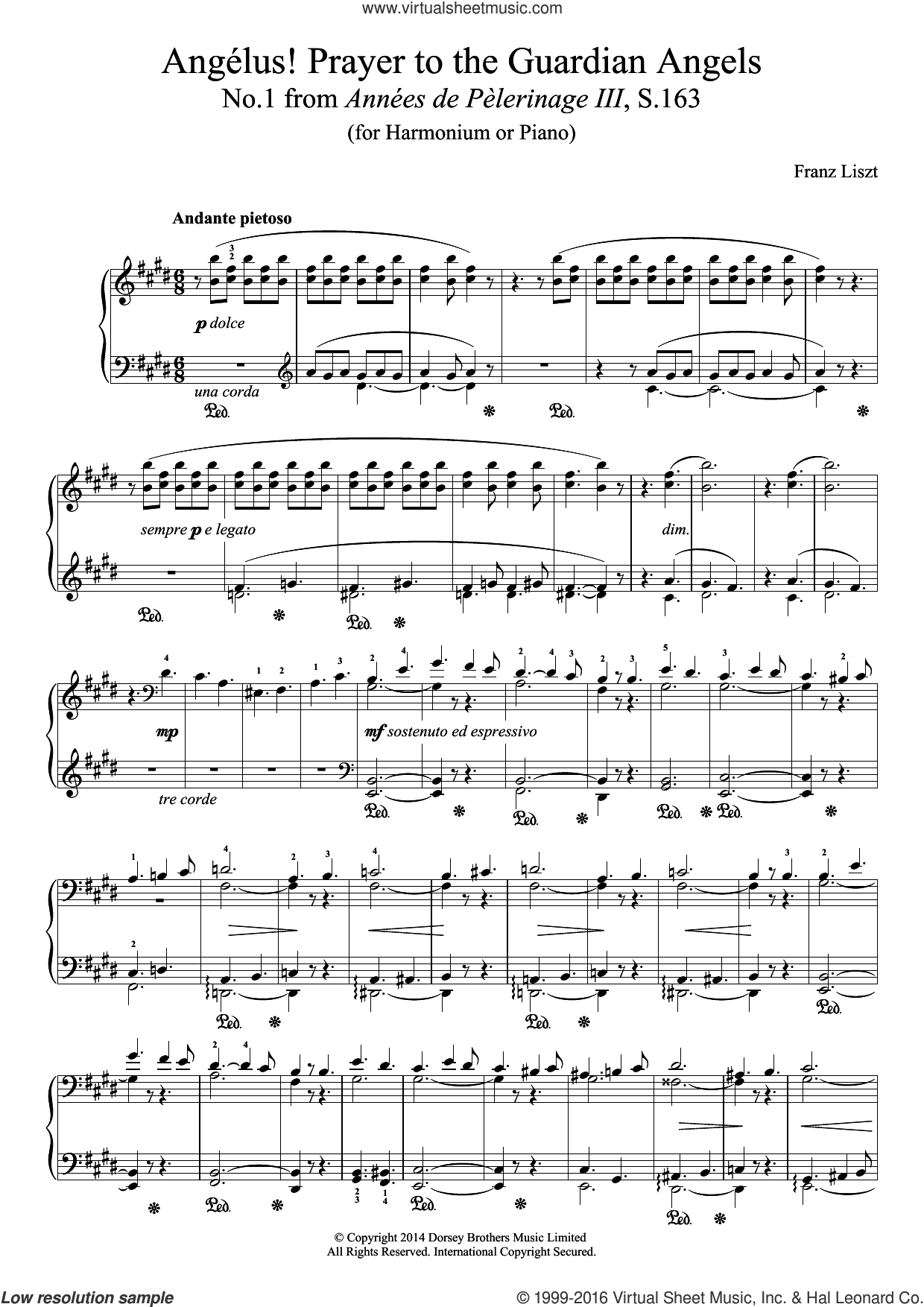 Annees De Pelerinage III, No.1: Angelus! Prayer To The Guardian Angels sheet music for piano solo by Franz Liszt, classical score, intermediate. Score Image Preview.