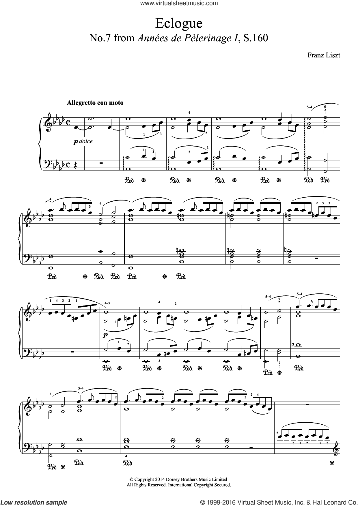 Annees De Pelerinage, No.7: Eclogue sheet music for piano solo by Franz Liszt. Score Image Preview.