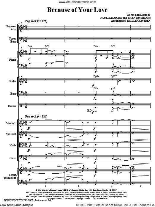 Because Of Your Love, complete set of parts (COMPLETE) sheet music for orchestra by Paul Baloche, Brenton Brown and Phillip Keveren. Score Image Preview.