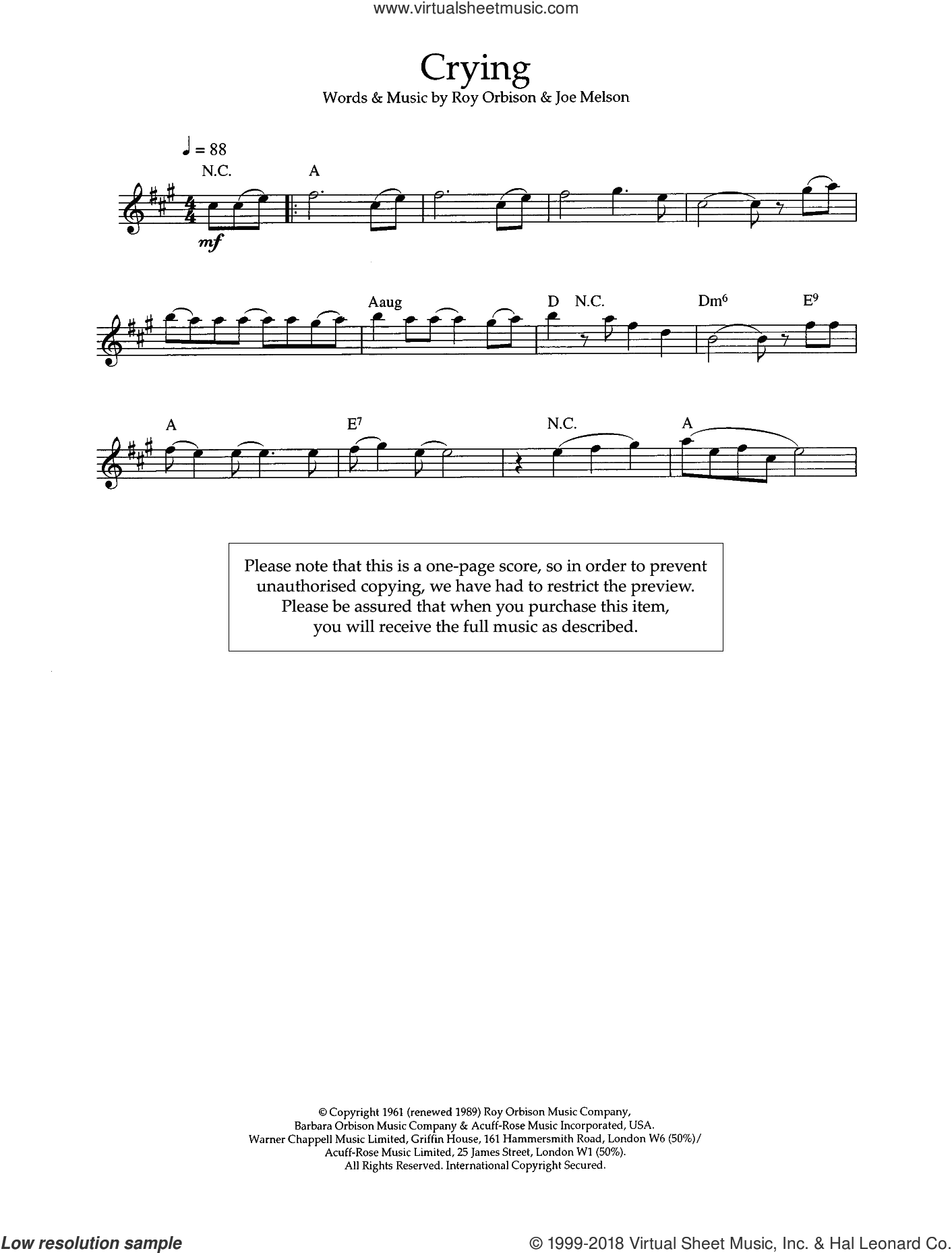 Crying sheet music for voice and other instruments (fake book) by Joe Melson and Roy Orbison. Score Image Preview.