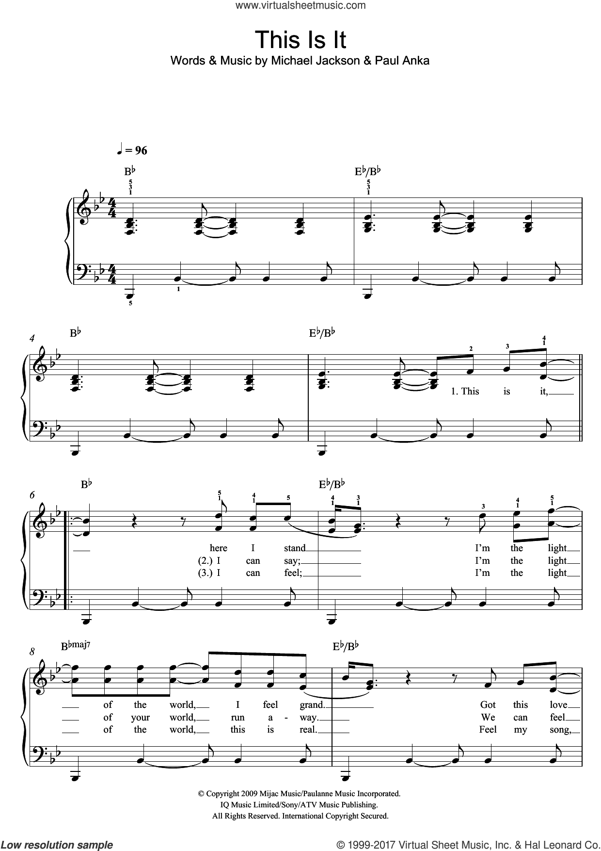 This Is It sheet music for piano solo by Michael Jackson and Paul Anka, easy skill level