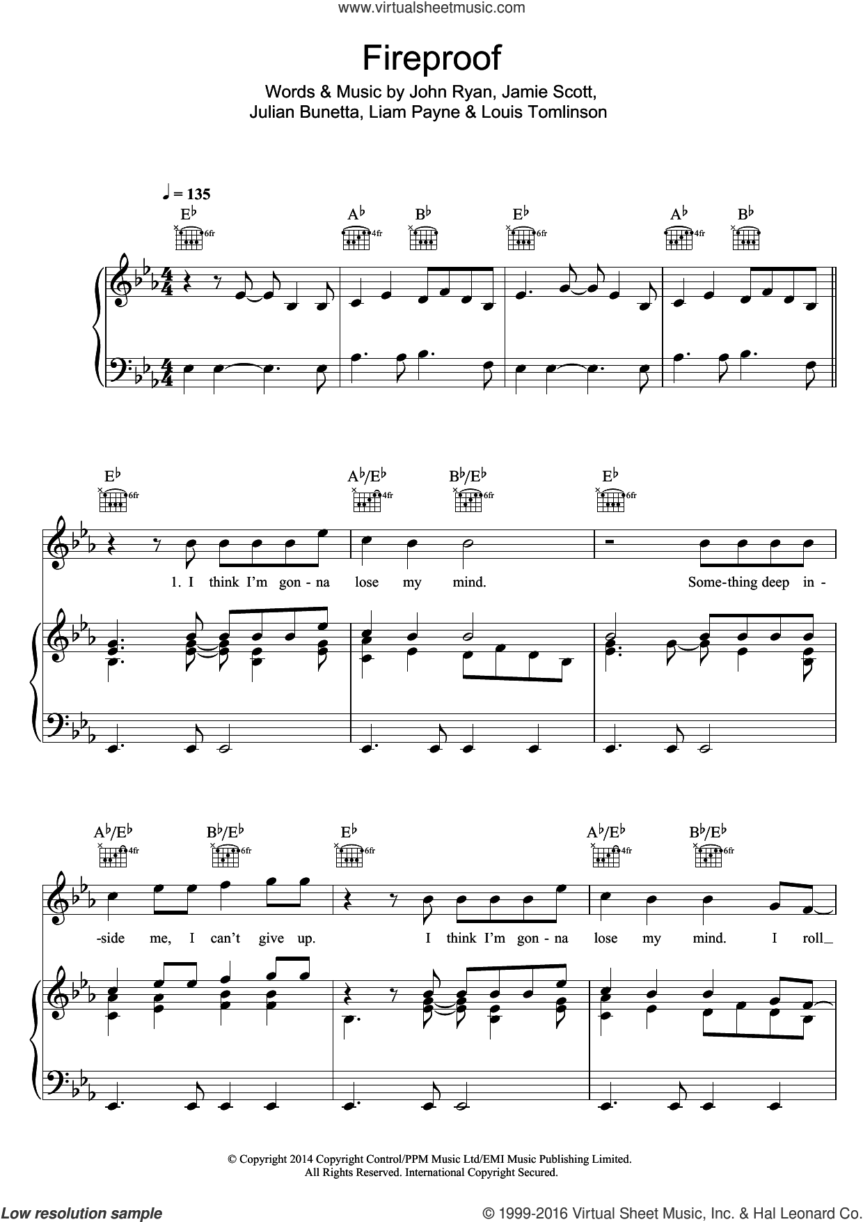 Fireproof sheet music for voice, piano or guitar by One Direction, Jamie Scott, John Ryan, Julian Bunetta, Liam Payne and Louis Tomlinson, intermediate skill level