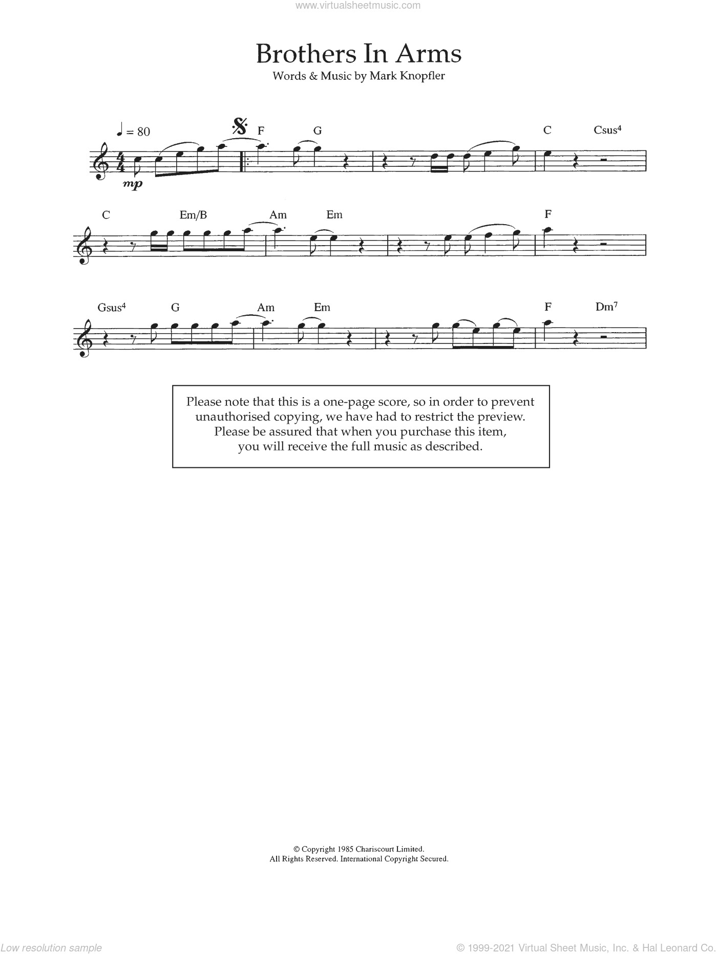 Brothers In Arms sheet music for flute solo by Dire Straits and Mark Knopfler, intermediate. Score Image Preview.
