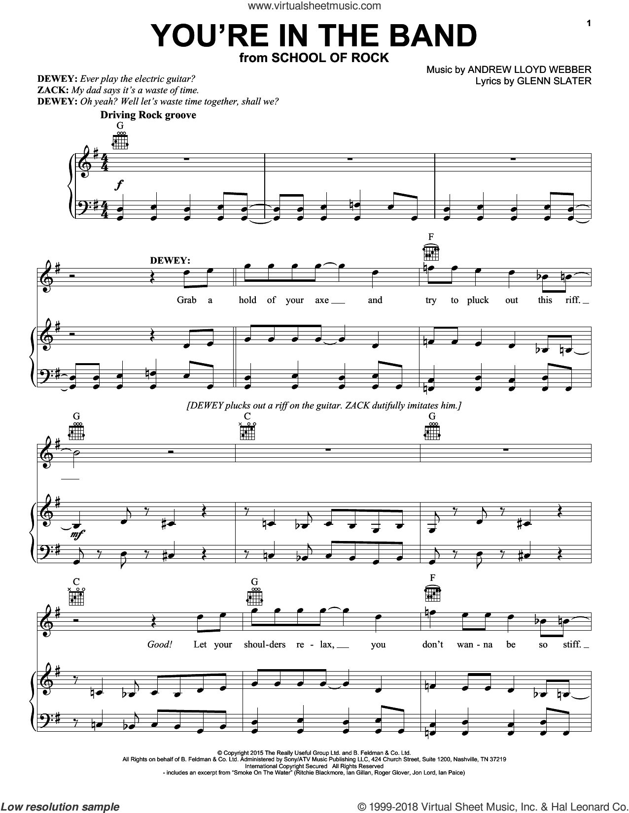 You're In The Band (from School of Rock: The Musical) sheet music for voice, piano or guitar by Andrew Lloyd Webber and Glenn Slater, intermediate skill level