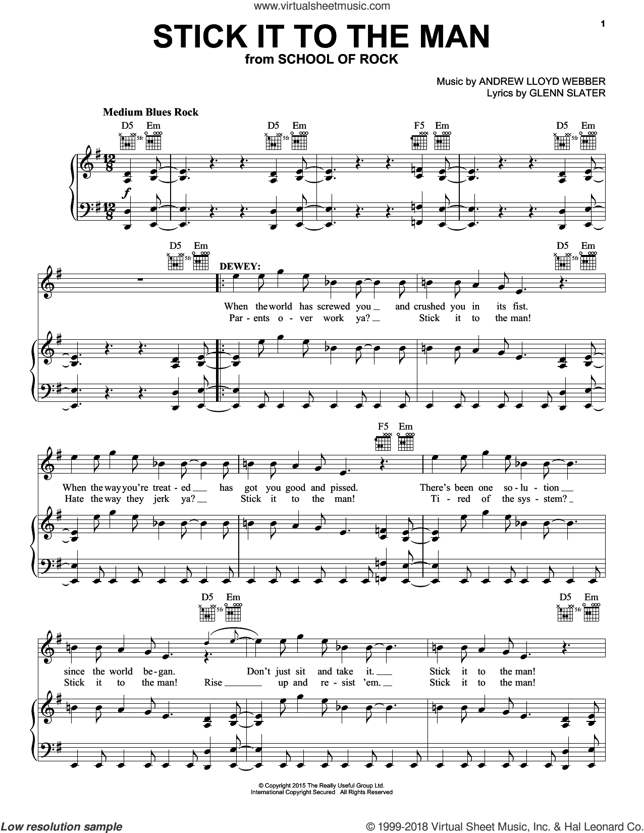 Stick It To The Man sheet music for voice, piano or guitar by Andrew Lloyd Webber and Glenn Slater, intermediate skill level