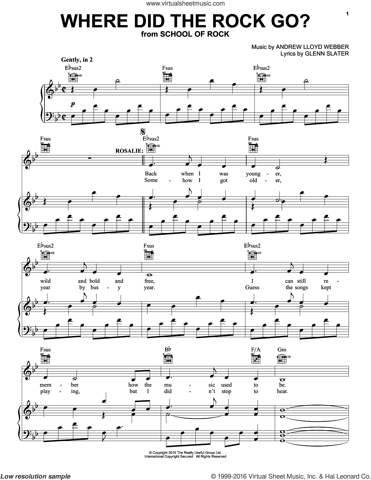 Where Did The Rock Go? sheet music for voice, piano or guitar by Andrew Lloyd Webber and Glenn Slater, intermediate. Score Image Preview.