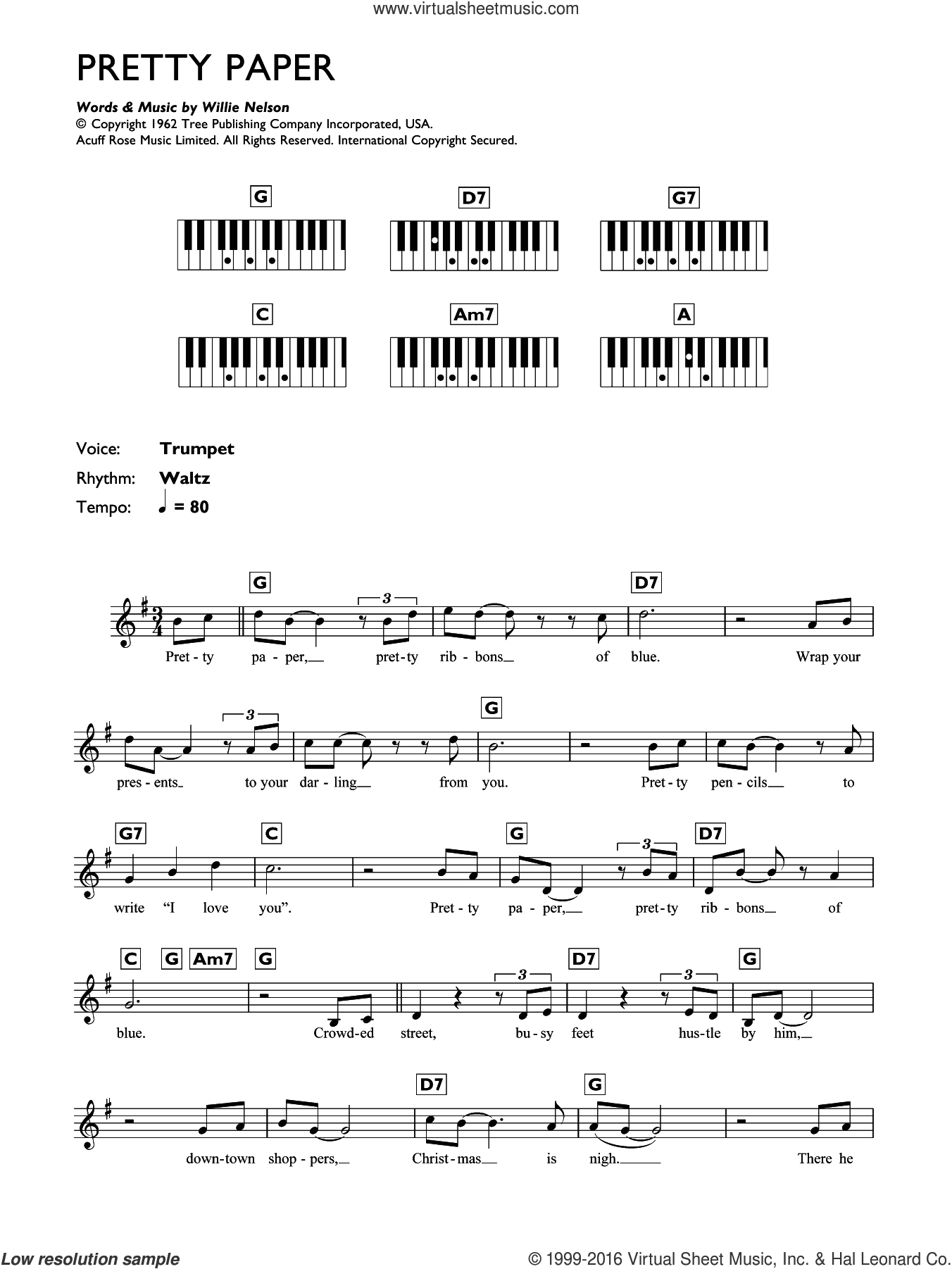 Pretty Paper sheet music for piano solo (chords, lyrics, melody) by Willie Nelson. Score Image Preview.