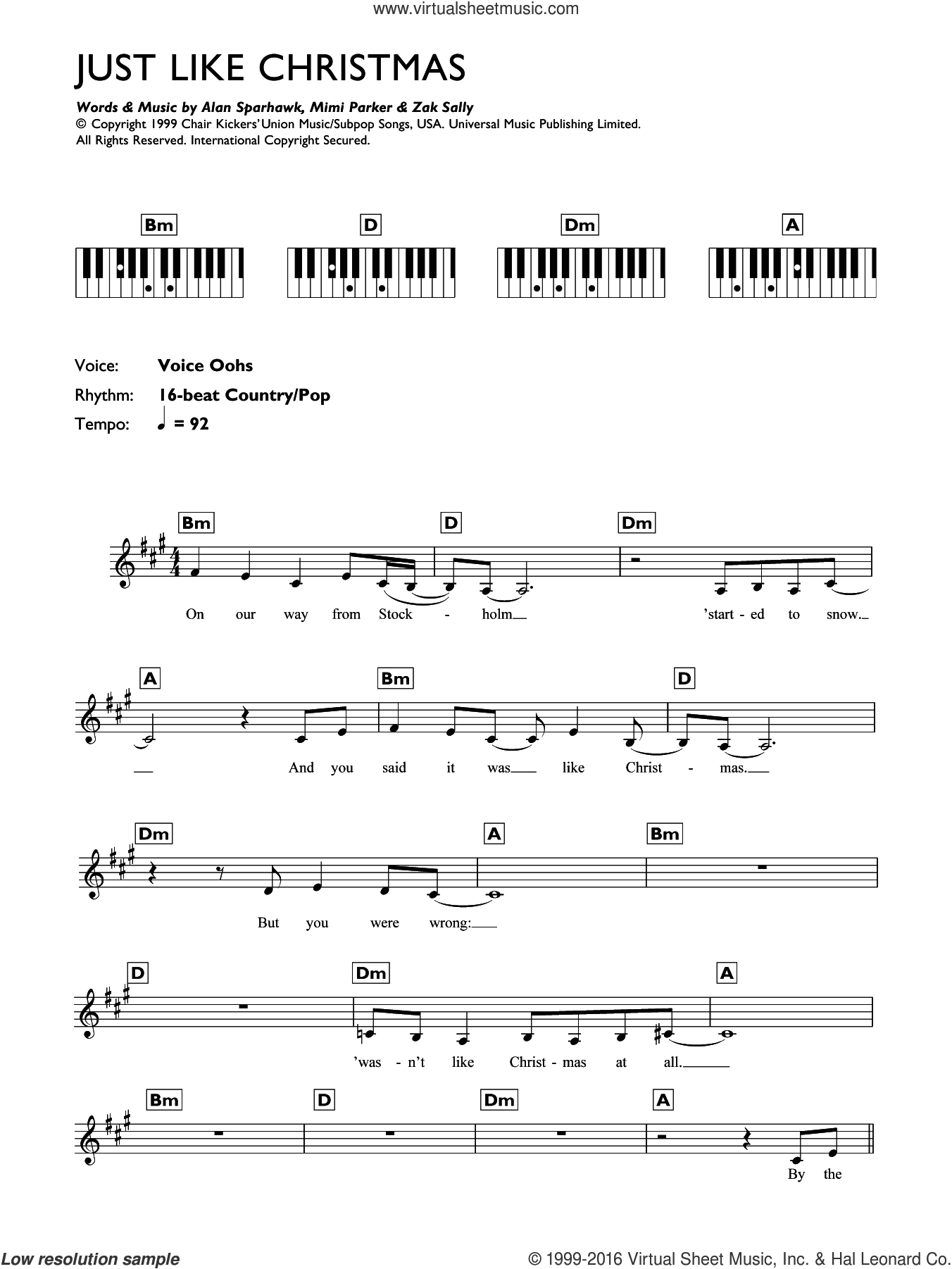 Just Like Christmas sheet music for piano solo (chords, lyrics, melody) by Alan Sparhawk and Zak Sally. Score Image Preview.