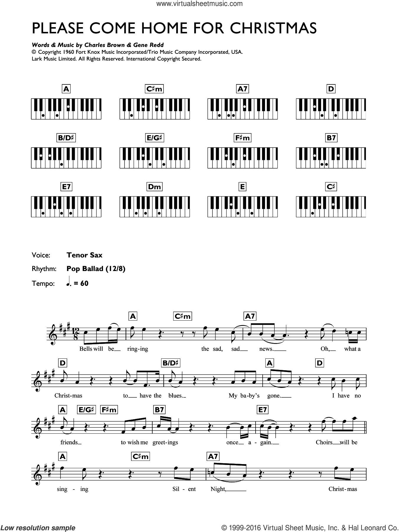 Please Come Home For Christmas sheet music for piano solo (chords, lyrics, melody) by Eagles, The Eagles, Charles Brown and Gene Redd, intermediate piano (chords, lyrics, melody)