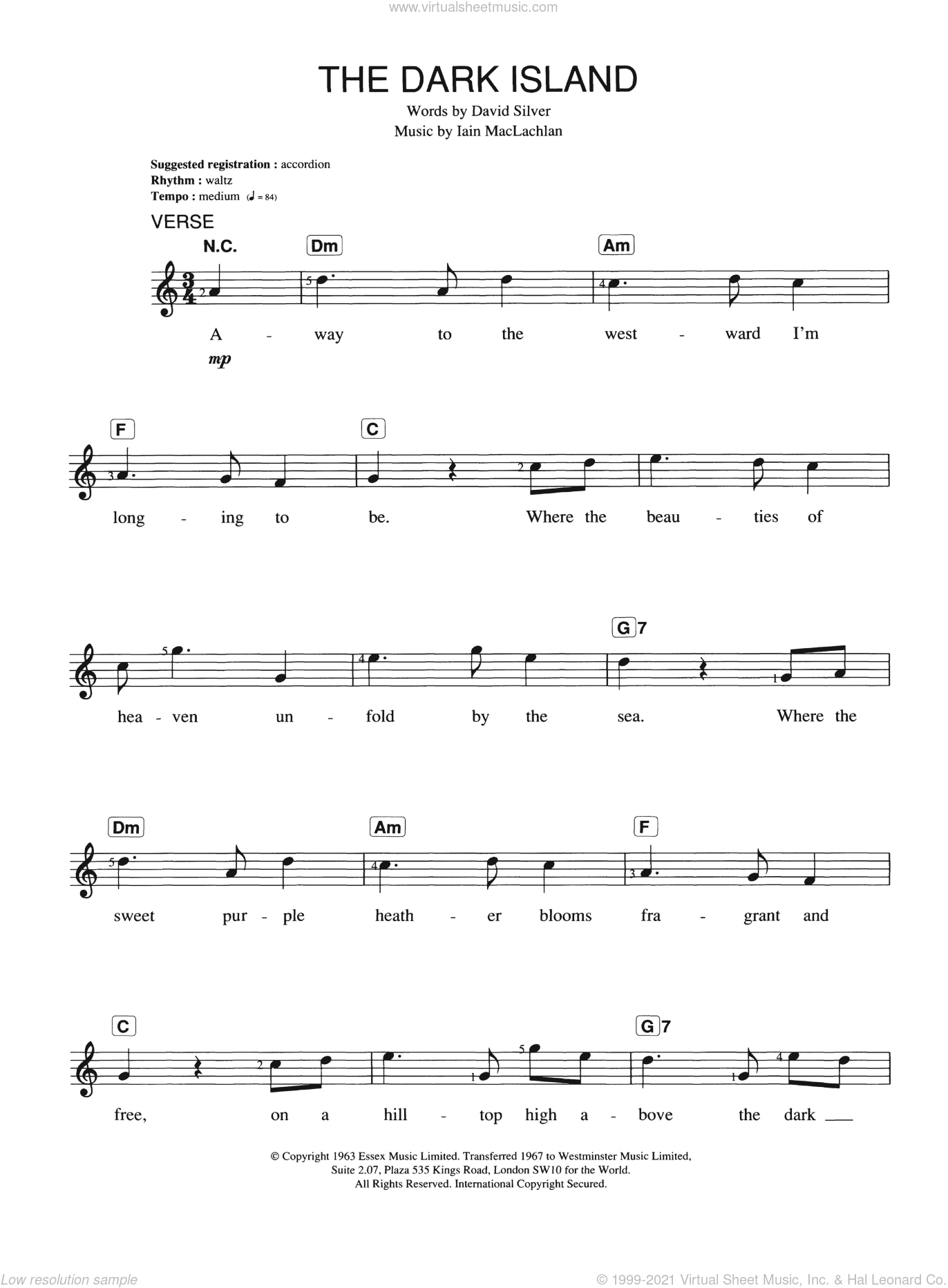 The Dark Island sheet music for piano solo (chords, lyrics, melody) by David Silver. Score Image Preview.