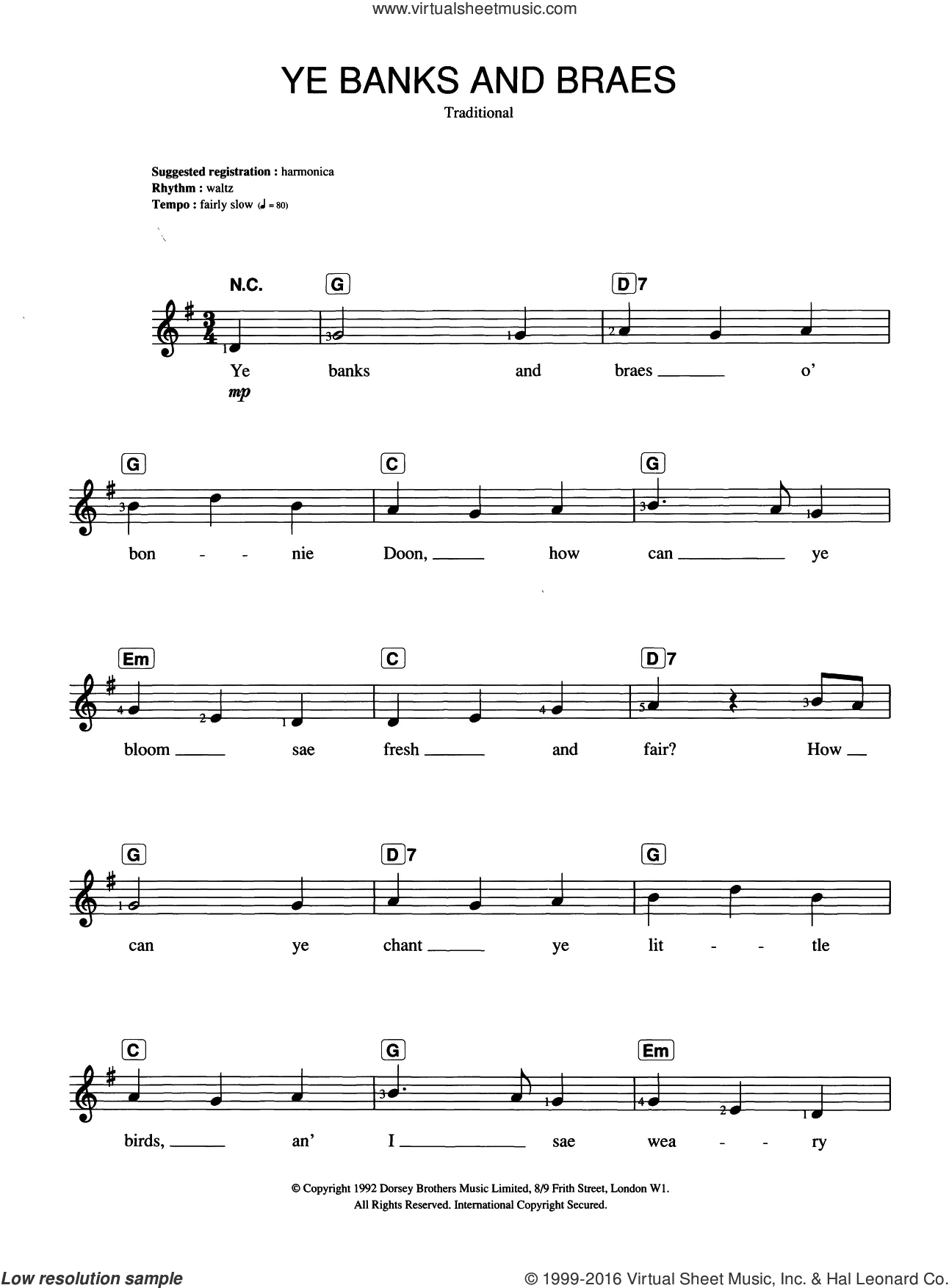 Ye Banks And Braes sheet music for piano solo (chords, lyrics, melody). Score Image Preview.