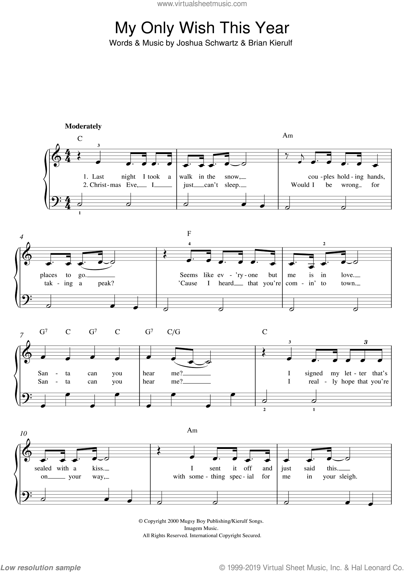 My Only Wish This Year sheet music for piano solo by Britney Spears, Brian Kierulf and Joshua Schwartz, easy skill level