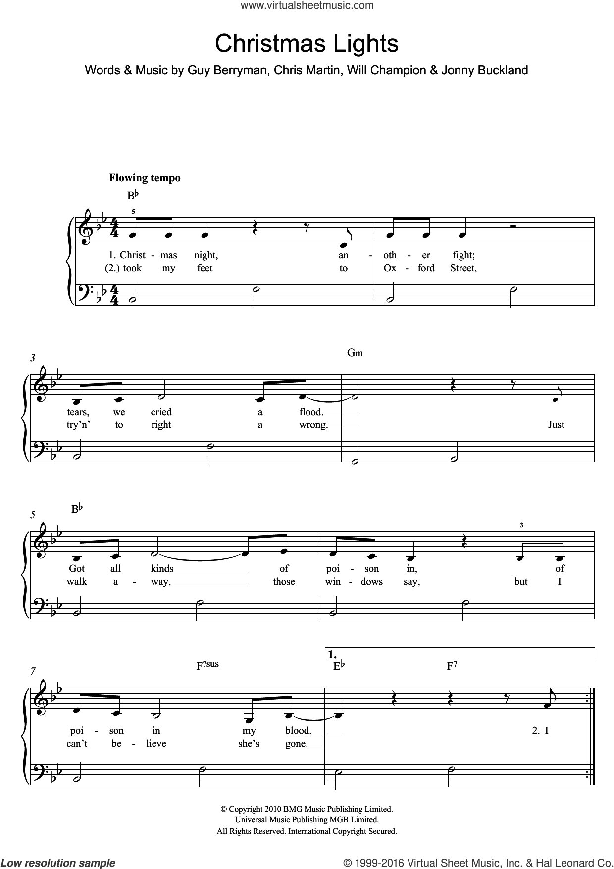Christmas Lights sheet music for piano solo by Coldplay, Chris Martin, Guy Berryman, Jonny Buckland and Will Champion, easy. Score Image Preview.