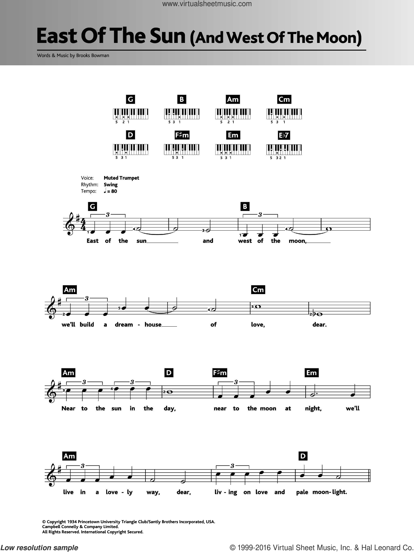 East Of The Sun (And West Of The Moon) sheet music for piano solo (chords, lyrics, melody) by Brooks Bowman, Diana Krall and Frank Sinatra. Score Image Preview.
