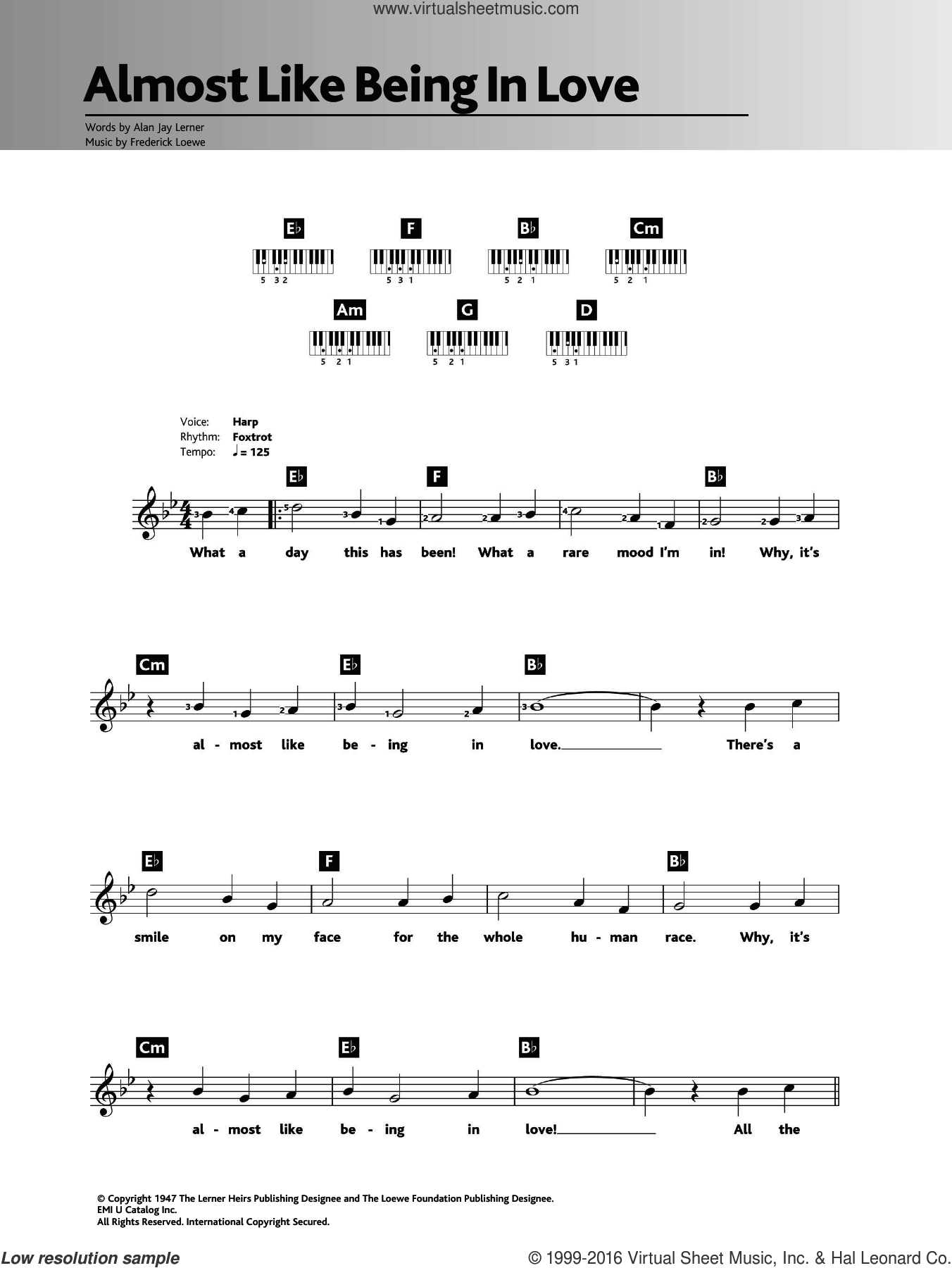 Almost Like Being In Love sheet music for piano solo (chords, lyrics, melody) by Frank Sinatra, Frederick Loewe and Alan Jay Lerner. Score Image Preview.