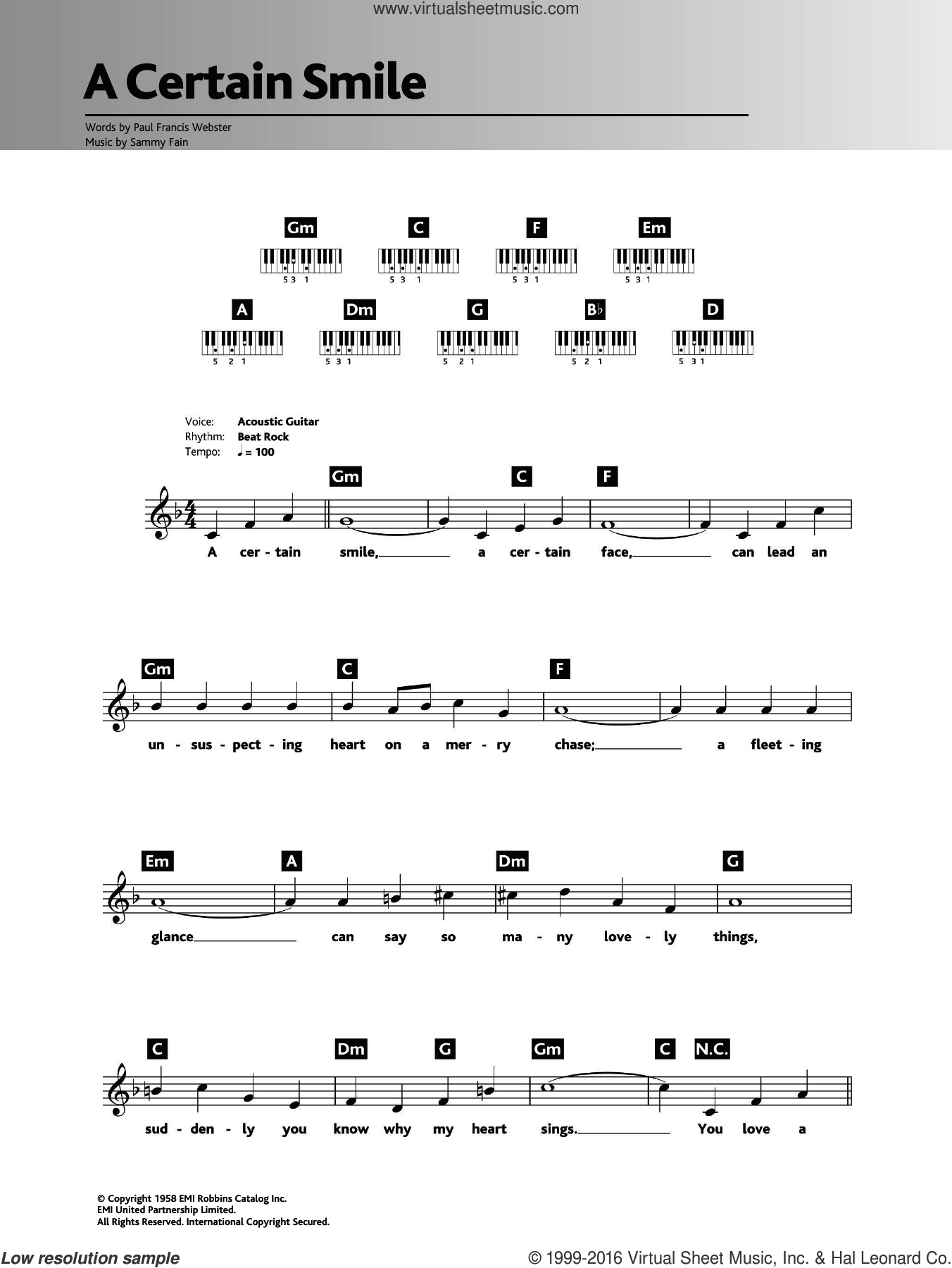 A Certain Smile sheet music for piano solo (chords, lyrics, melody) by Sammy Fain, Johnny Mathis and Paul Francis Webster. Score Image Preview.