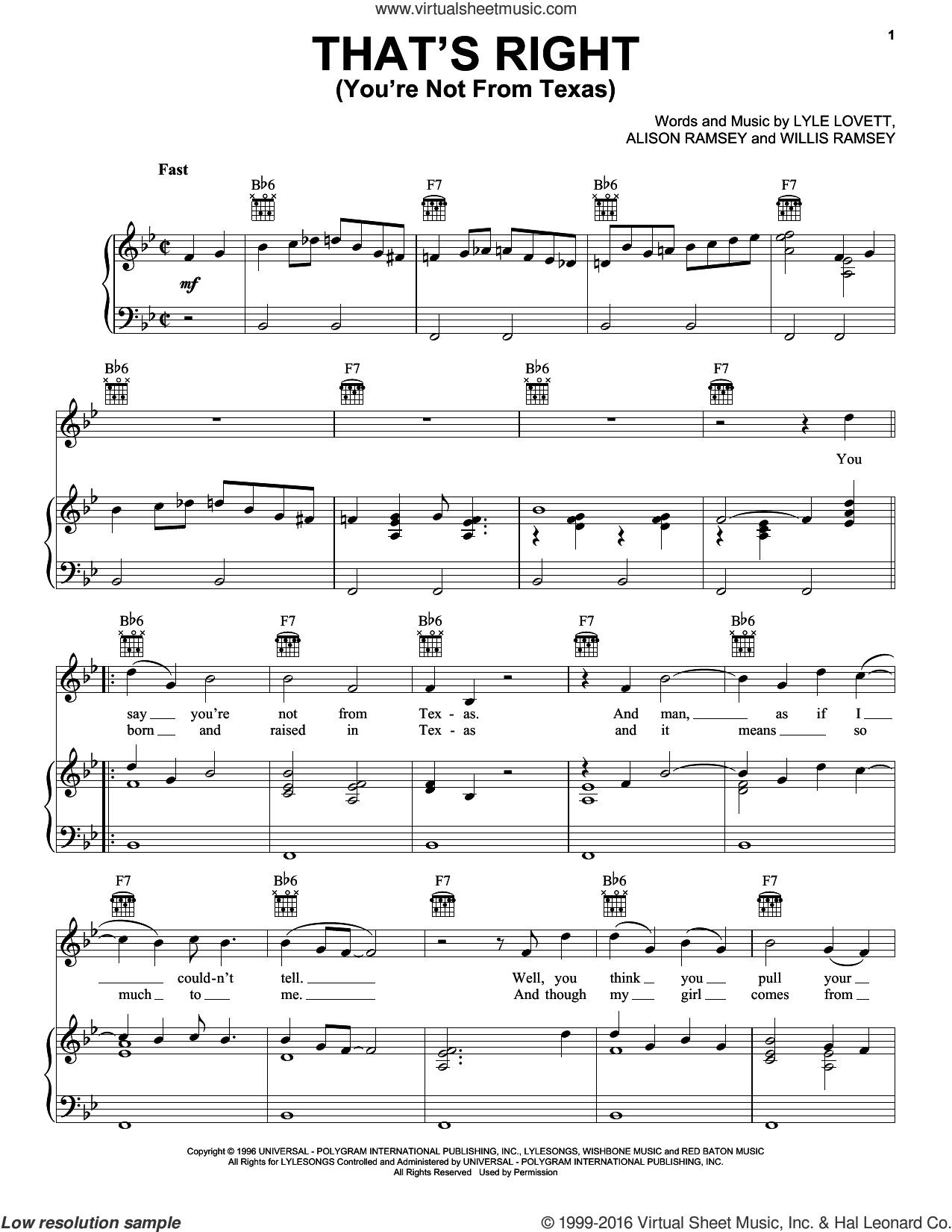 That's Right (You're Not From Texas) sheet music for voice, piano or guitar by Willis Ramsey and Lyle Lovett. Score Image Preview.
