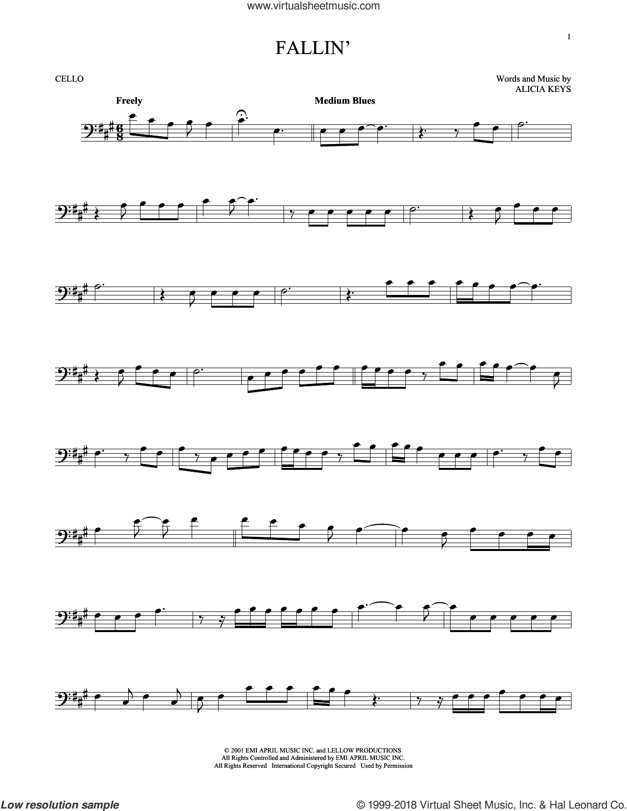 Fallin' sheet music for cello solo by Alicia Keys, intermediate skill level