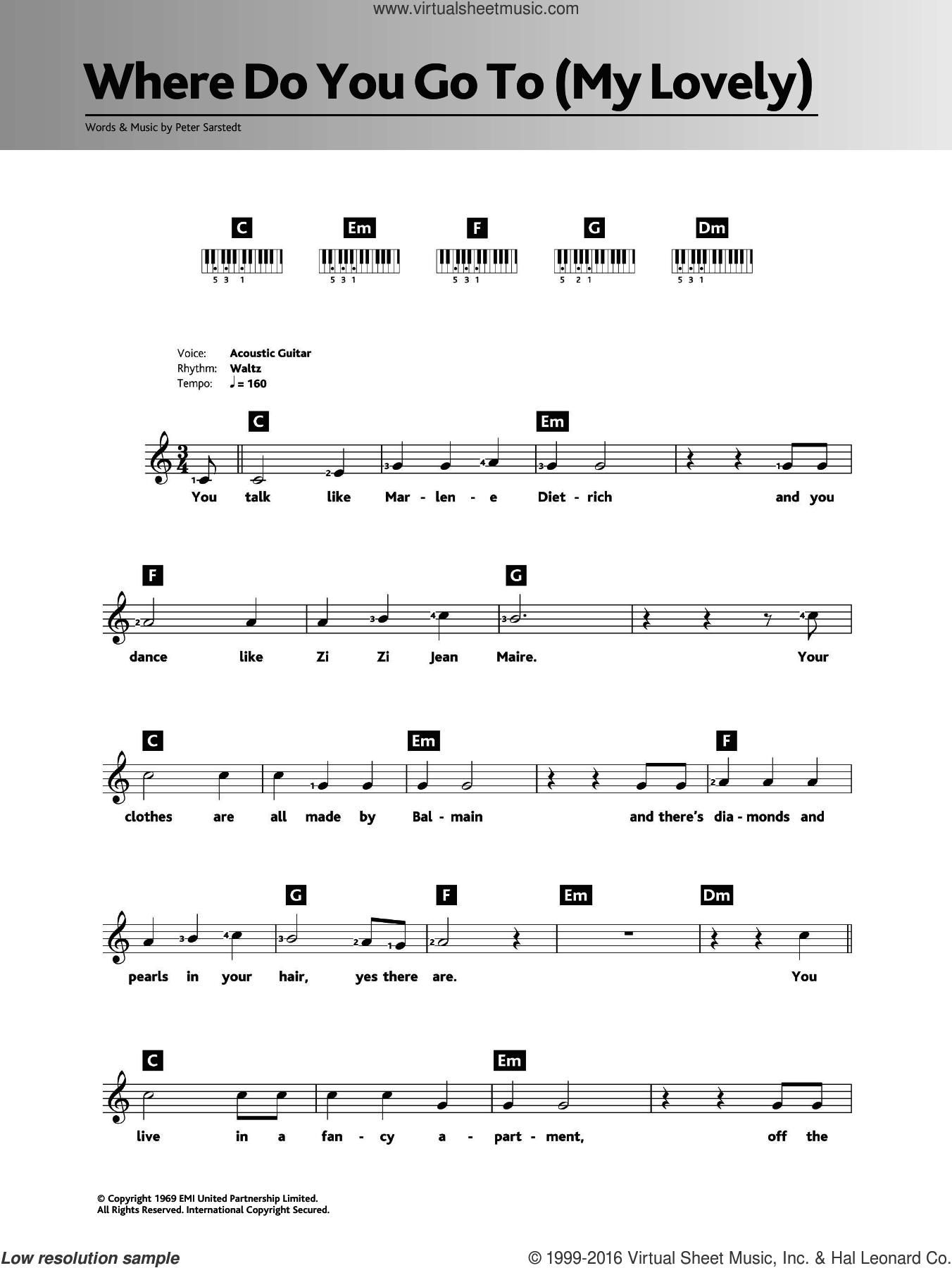 Where Do You Go To (My Lovely) sheet music for piano solo (chords, lyrics, melody) by Peter Sarstedt, intermediate piano (chords, lyrics, melody). Score Image Preview.