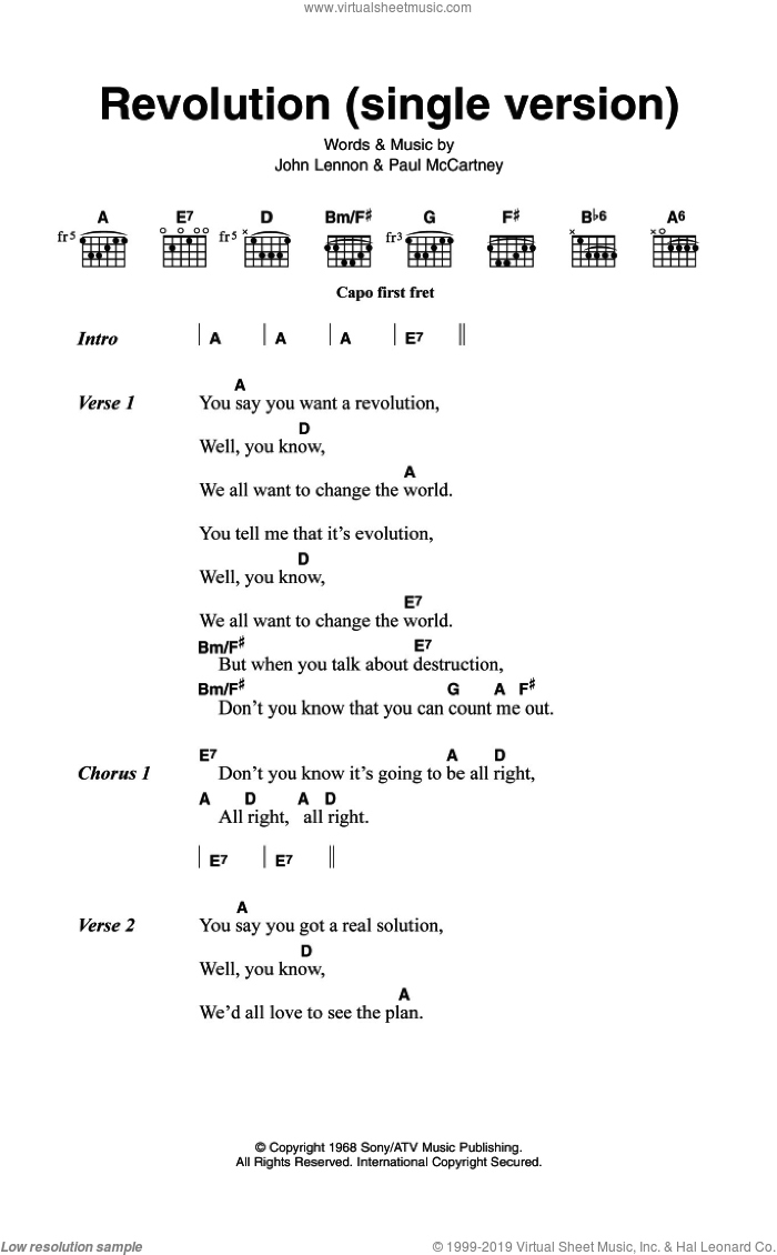 Revolution (Single Version) sheet music for guitar (chords) by The Beatles, John Lennon and Paul McCartney, intermediate. Score Image Preview.