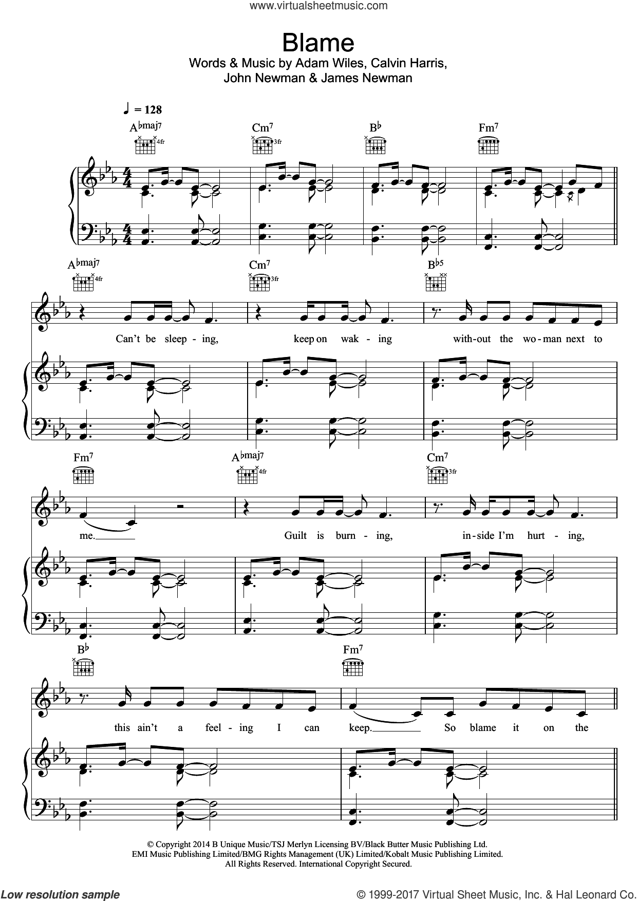Blame (feat. John Newman) sheet music for voice, piano or guitar by Calvin Harris, Adam Wiles, James Newman and John Newman, intermediate skill level