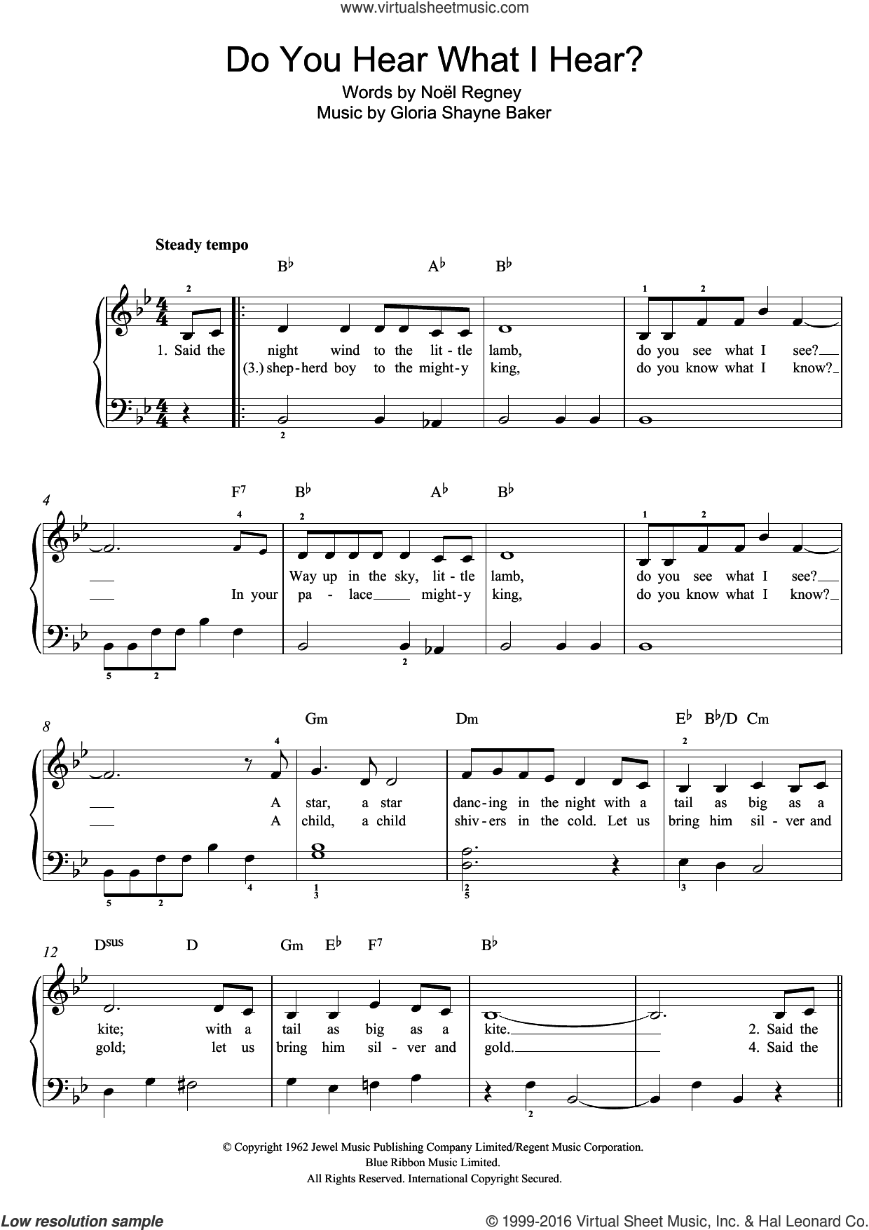 Do You Hear What I Hear? sheet music for piano solo by Mary J. Blige, Susan Boyle, Gloria Shayne Baker, Noël Regney and Noel Regney, easy skill level