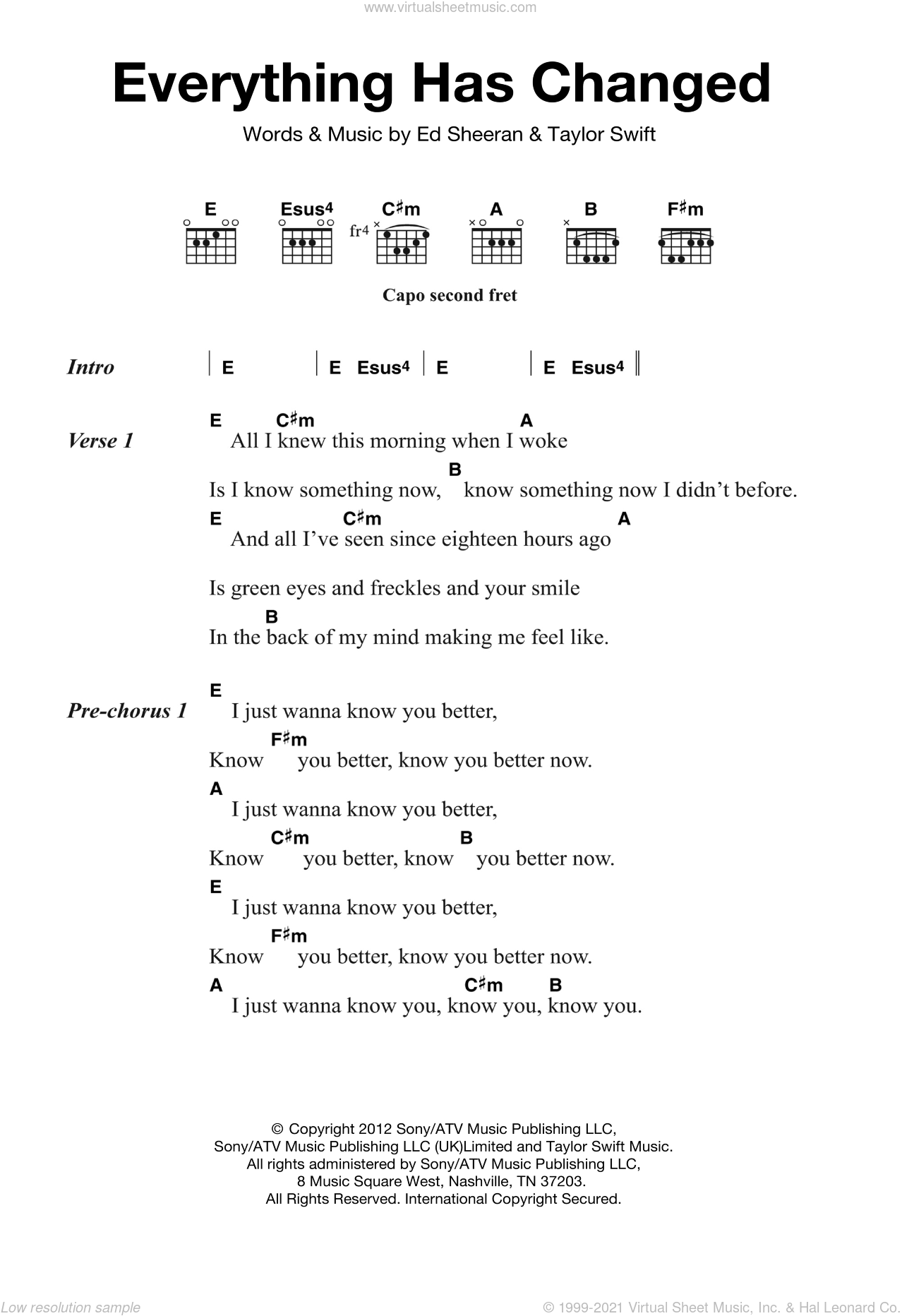 Everything Has Changed sheet music for guitar (chords) by Ed Sheeran and Taylor Swift, intermediate guitar (chords). Score Image Preview.