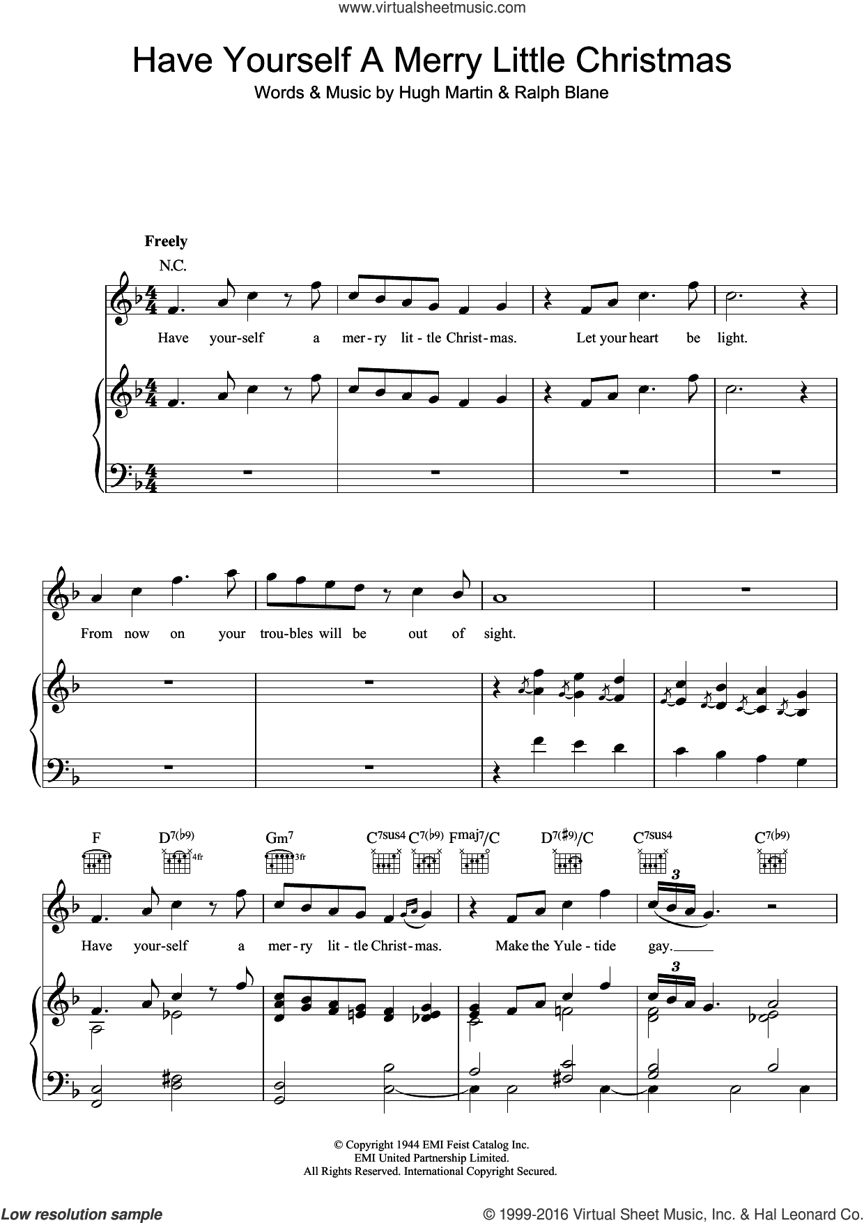 Have Yourself A Merry Little Christmas sheet music for voice, piano or guitar by Hugh Martin, Frank Sinatra, Sam Smith and Ralph Blane. Score Image Preview.