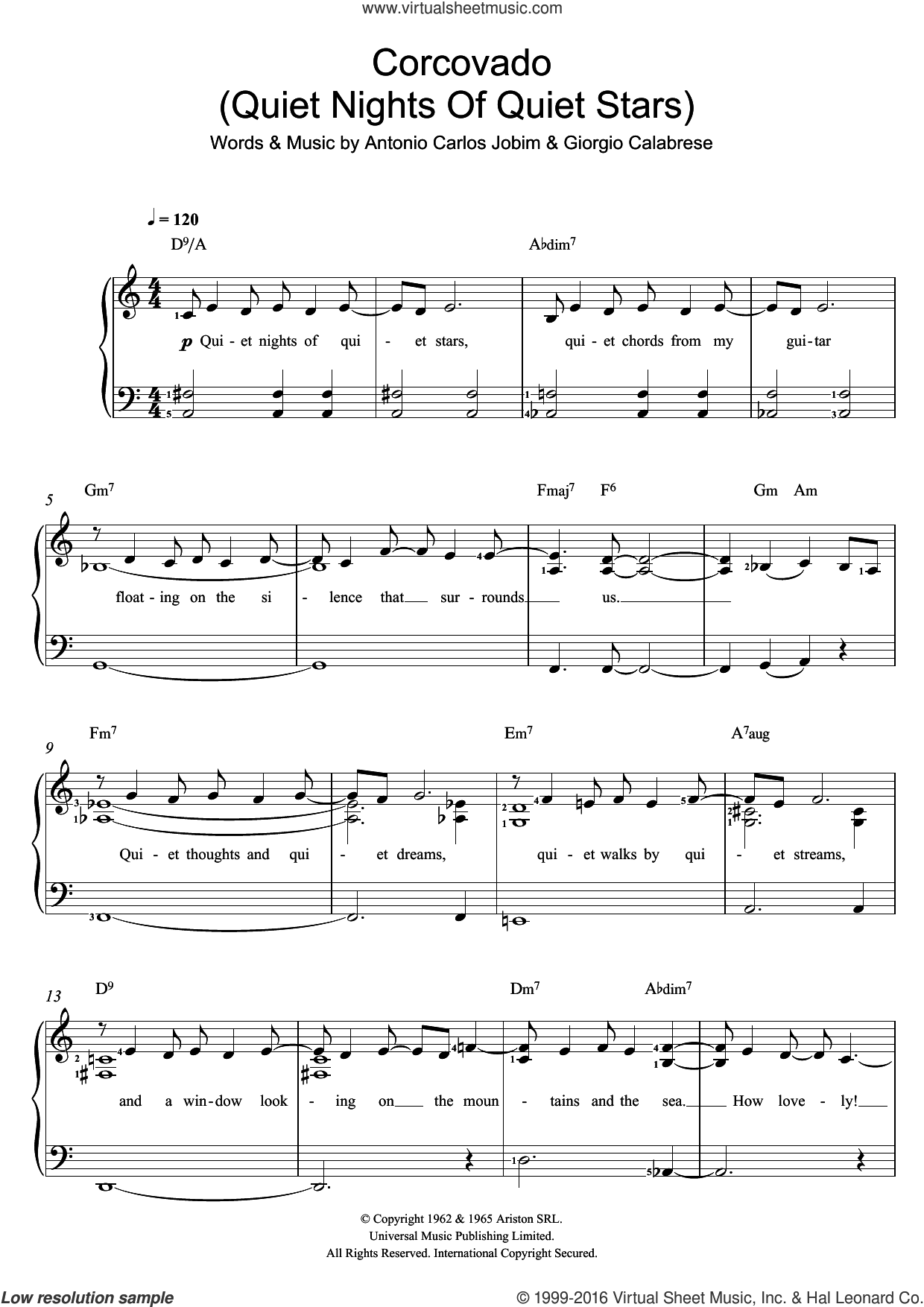 Corcovado (Quiet Nights Of Quiet Stars) sheet music for voice and piano by Antonio Carlos Jobim and Giorgio Calabrese, intermediate skill level