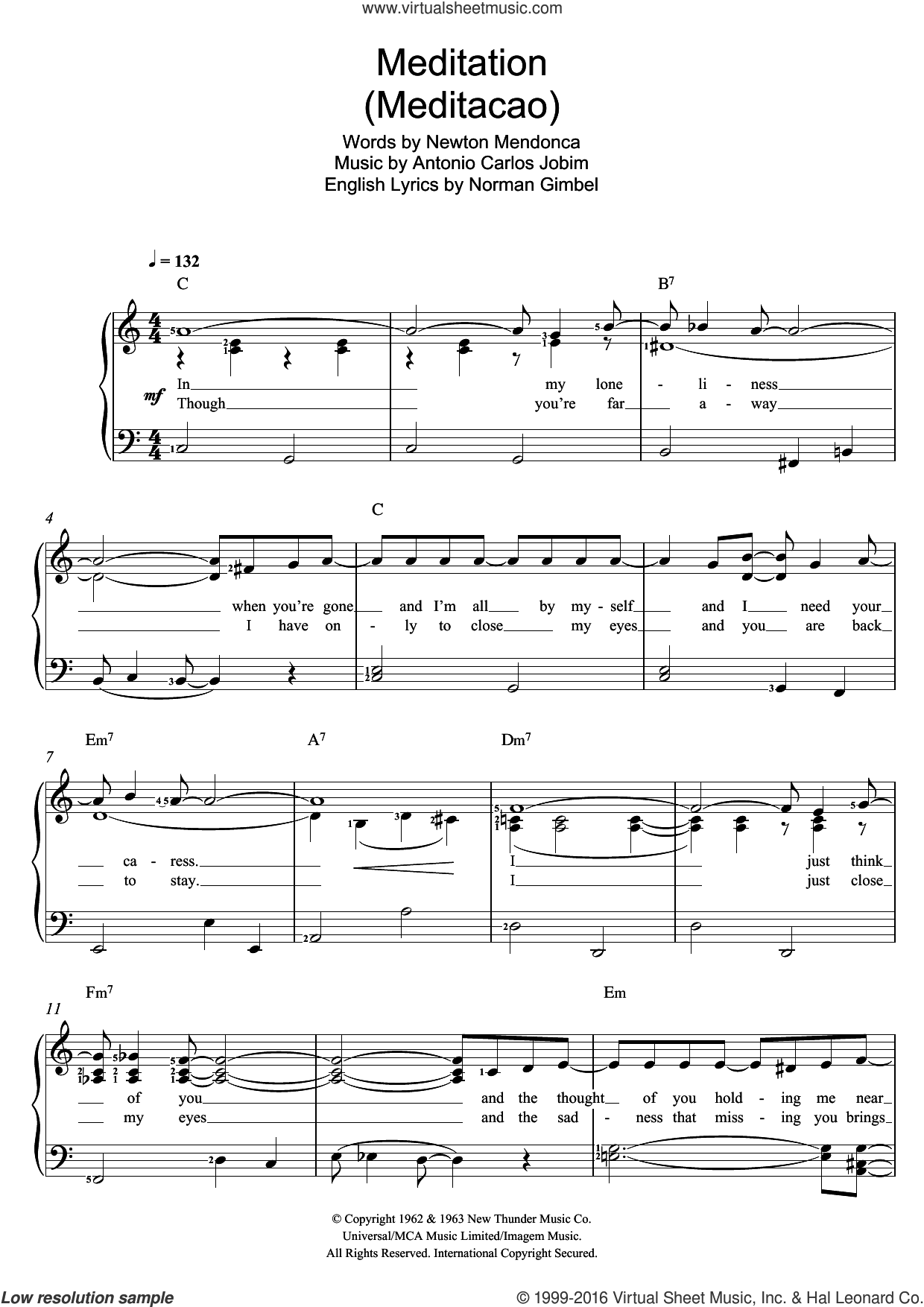 Meditation (Meditacao) sheet music for voice and piano by Antonio Carlos Jobim, Norman Gimbel and Newton Mendonca, intermediate skill level