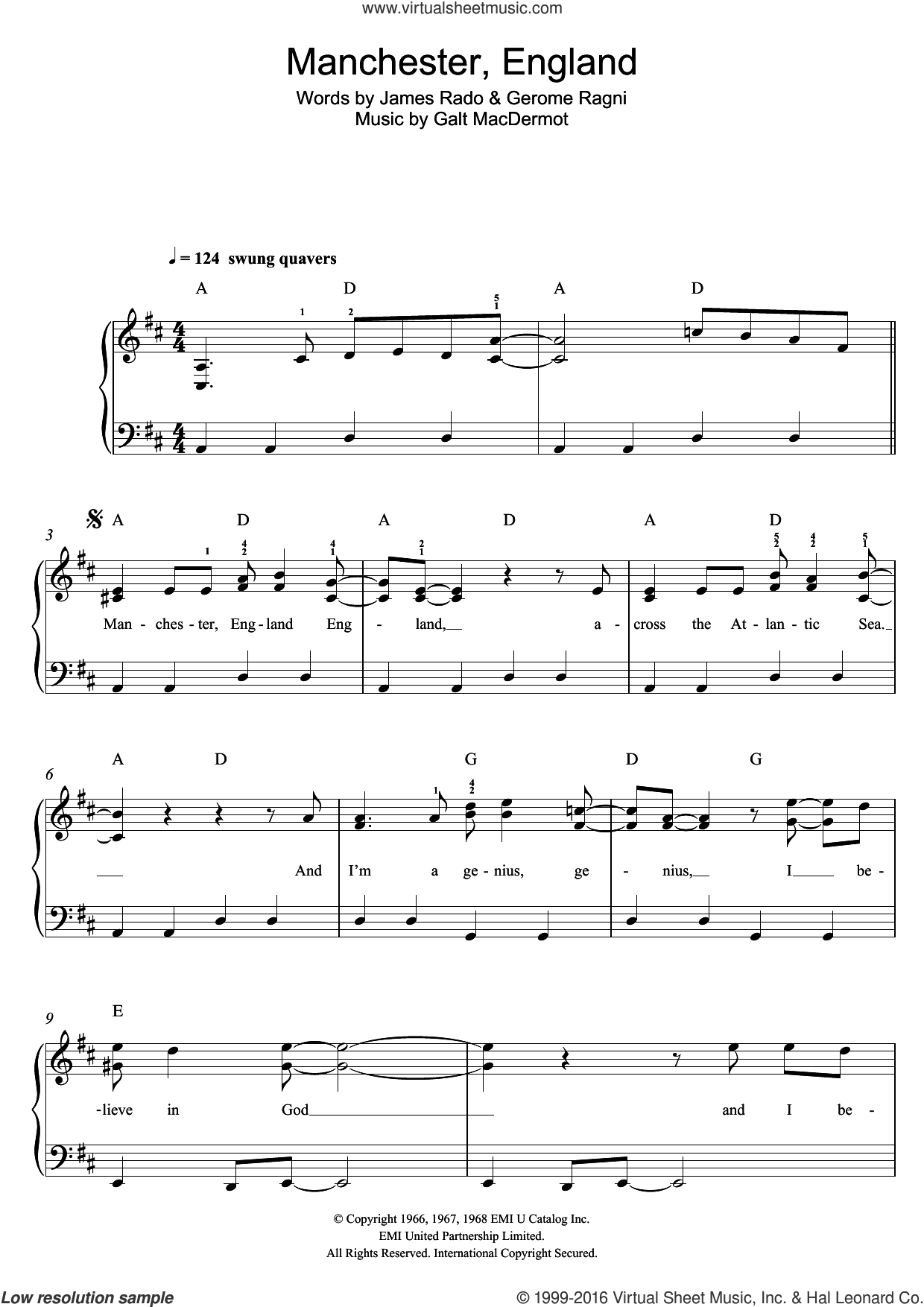 Manchester, England sheet music for piano solo by Galt MacDermot, Gerome Ragni and James Rado, easy skill level