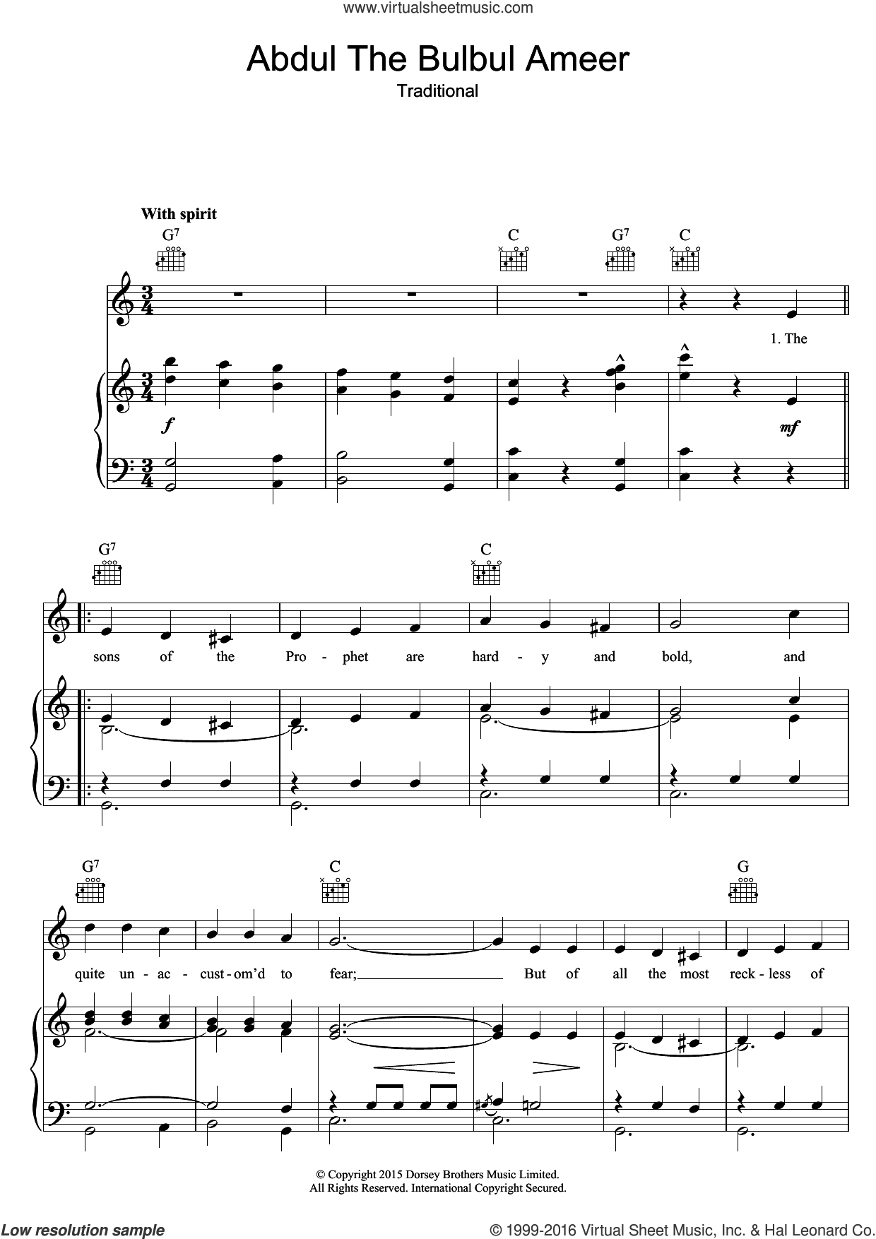 Abdul The Bulbul Ameer sheet music for voice, piano or guitar. Score Image Preview.