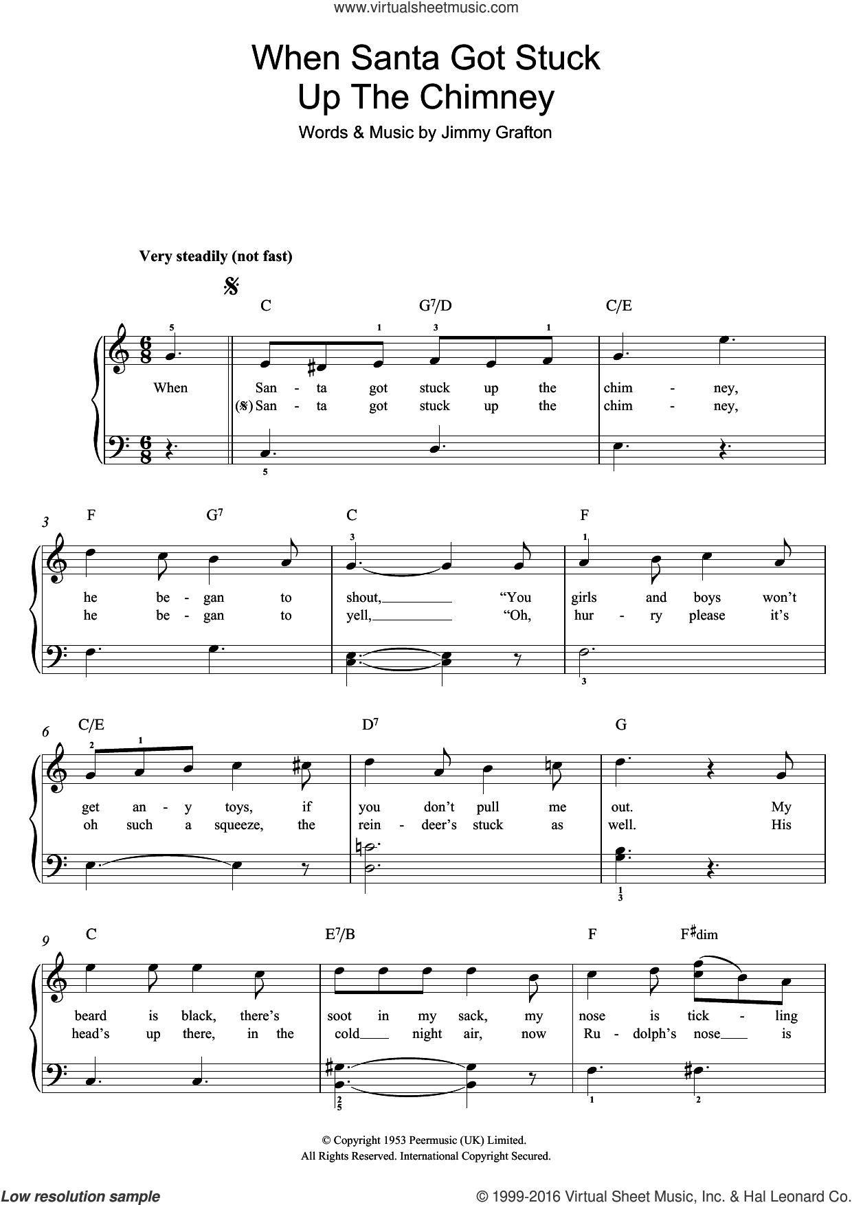 When Santa Got Stuck Up The Chimney sheet music for piano solo by Jimmy Grafton, easy skill level