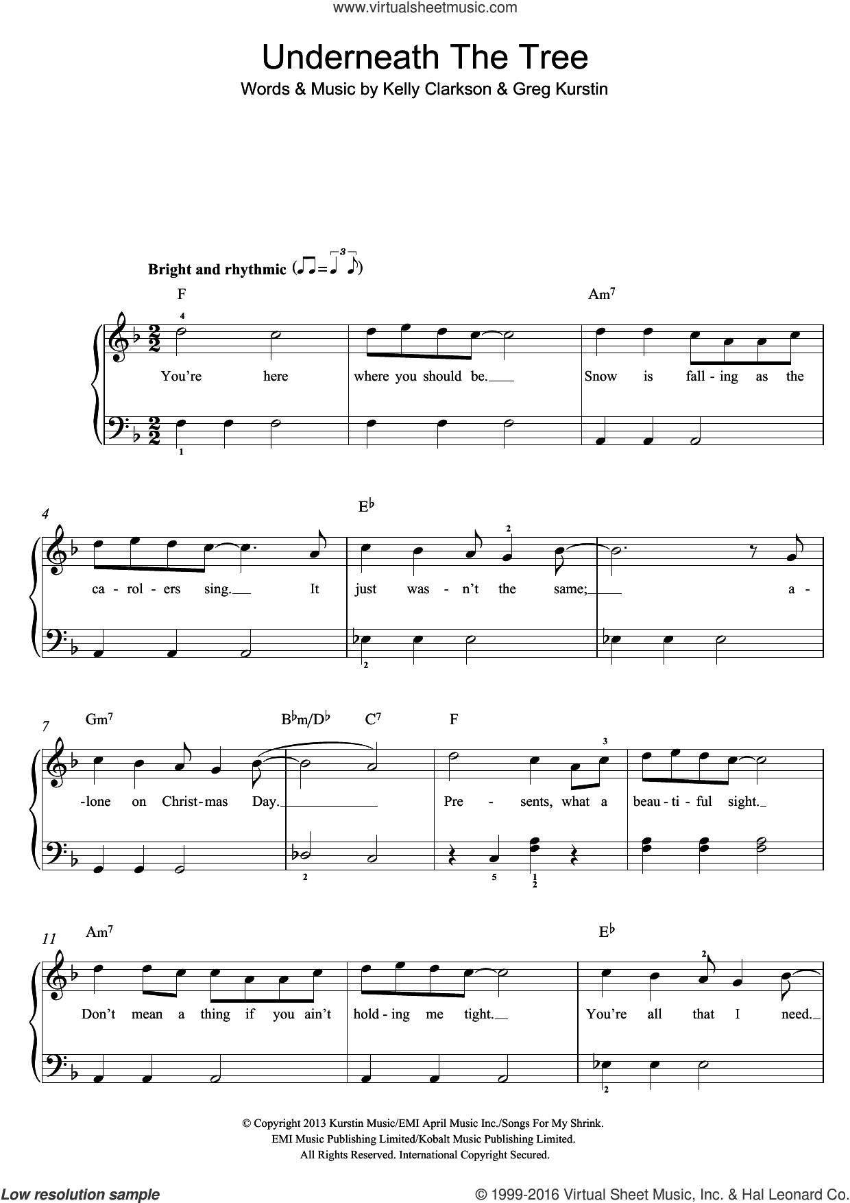 Underneath The Tree sheet music for piano solo by Kelly Clarkson and Greg Kurstin, easy skill level
