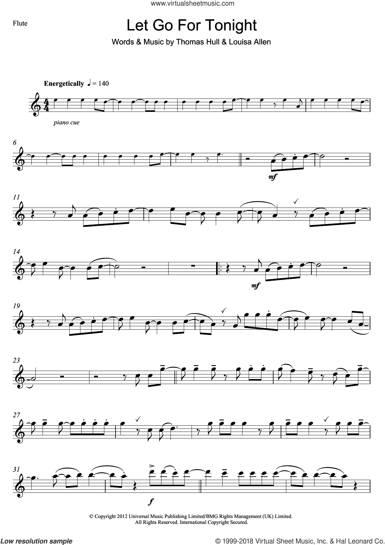 Let Go For Tonight sheet music for flute solo by Foxes, Louisa Allen and Tom Hull, intermediate skill level