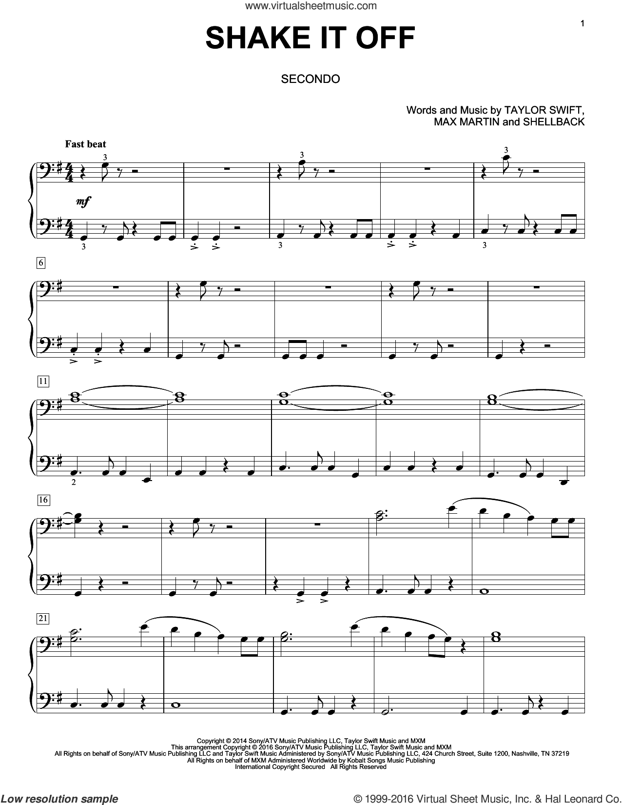 Shake It Off sheet music for piano four hands by Taylor Swift, Eric Baumgartner, Johan Schuster, Max Martin and Shellback, intermediate skill level