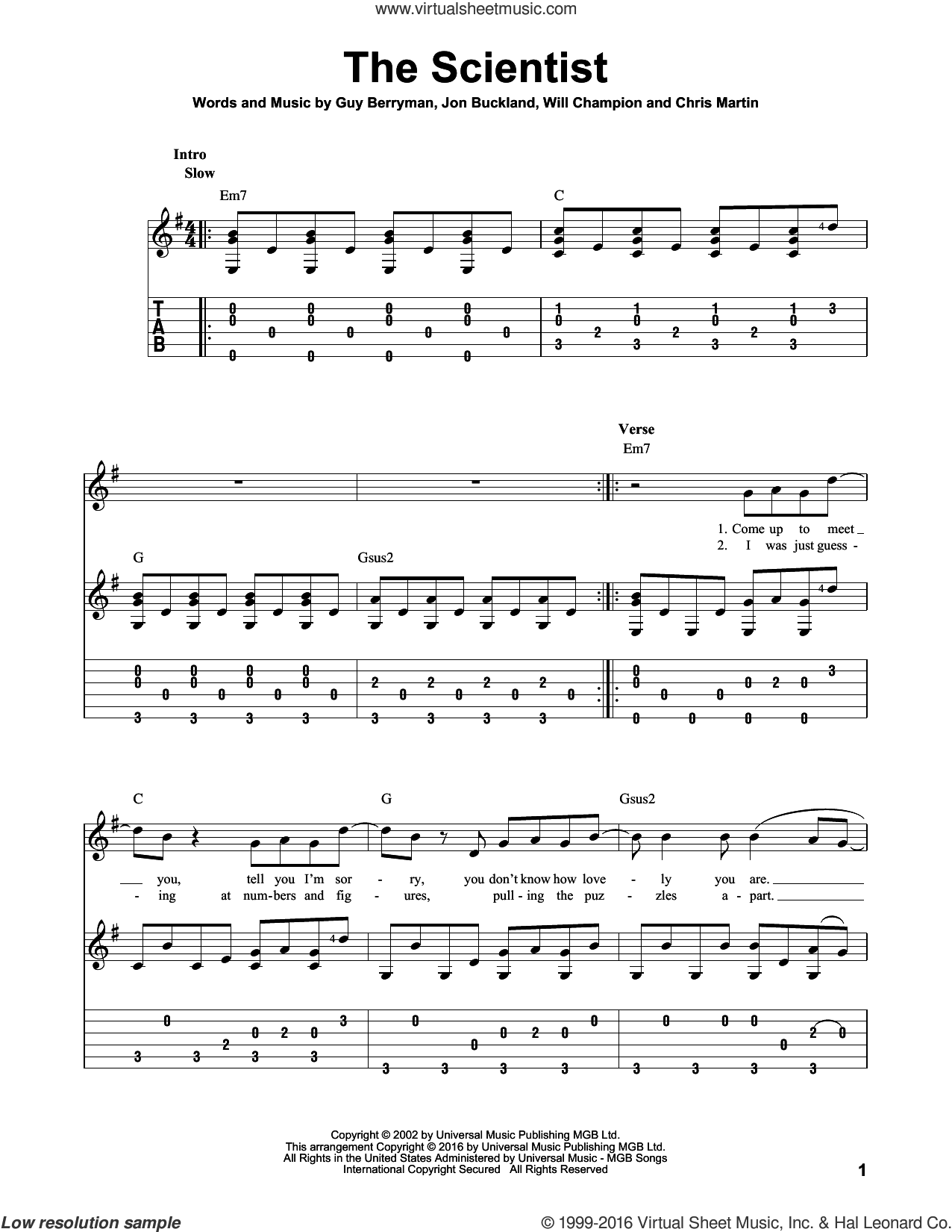 The Scientist sheet music for guitar solo by Coldplay. Score Image Preview.