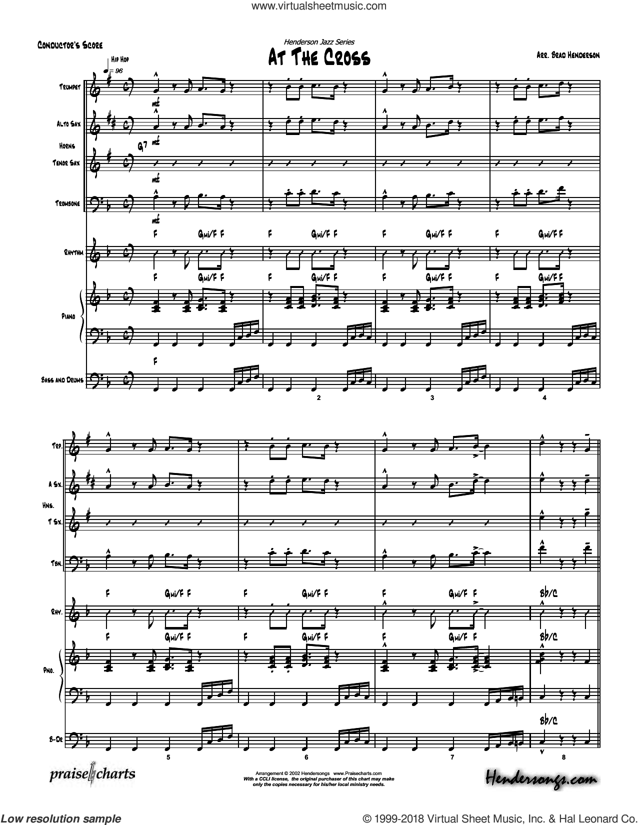At the Cross sheet music for concert band (orchestration, orchestration) by Brad Henderson and Isaac Watts, intermediate orchestra. Score Image Preview.