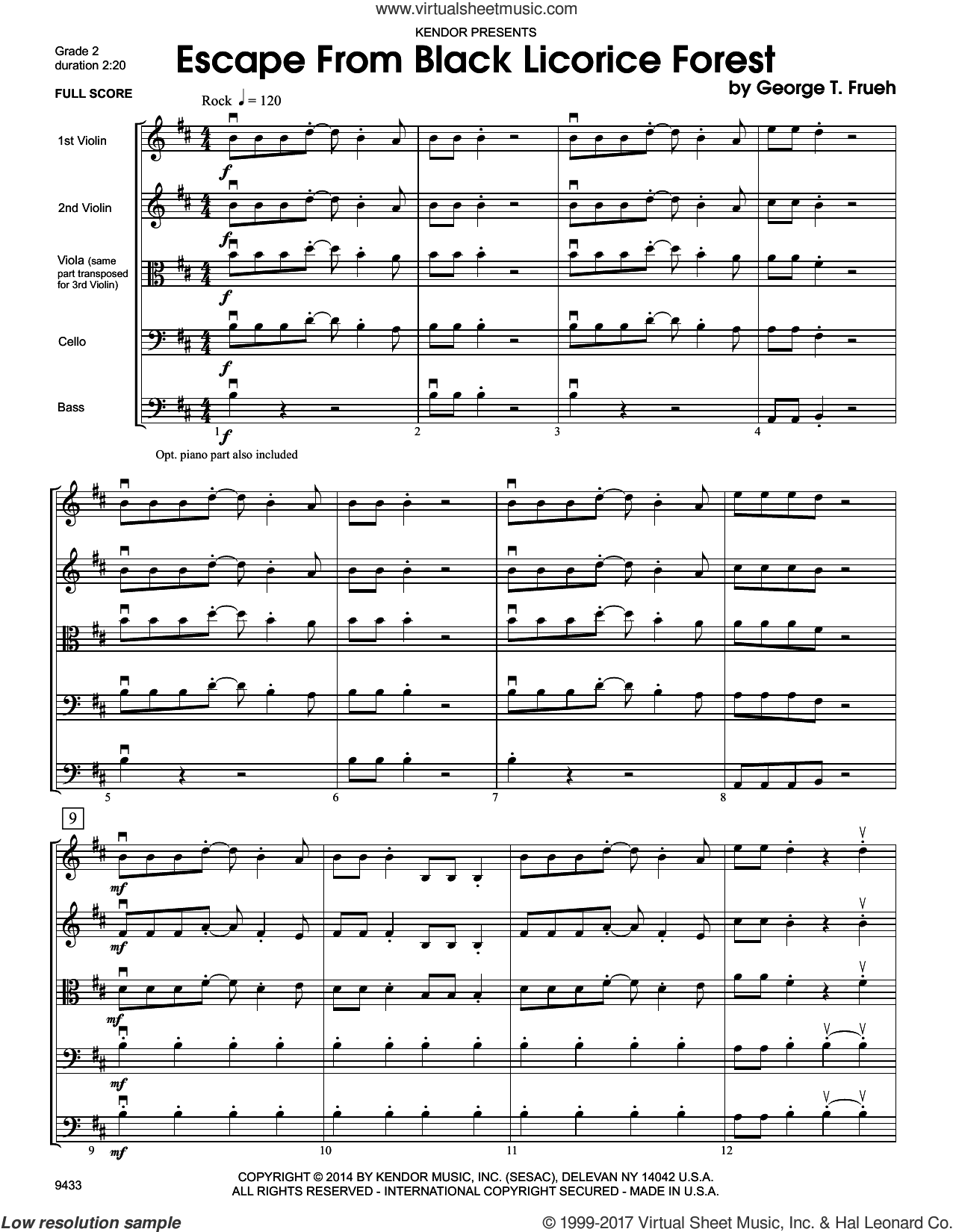 Escape From Black Licorice Forest (COMPLETE) sheet music for orchestra by George T. Frueh, intermediate skill level