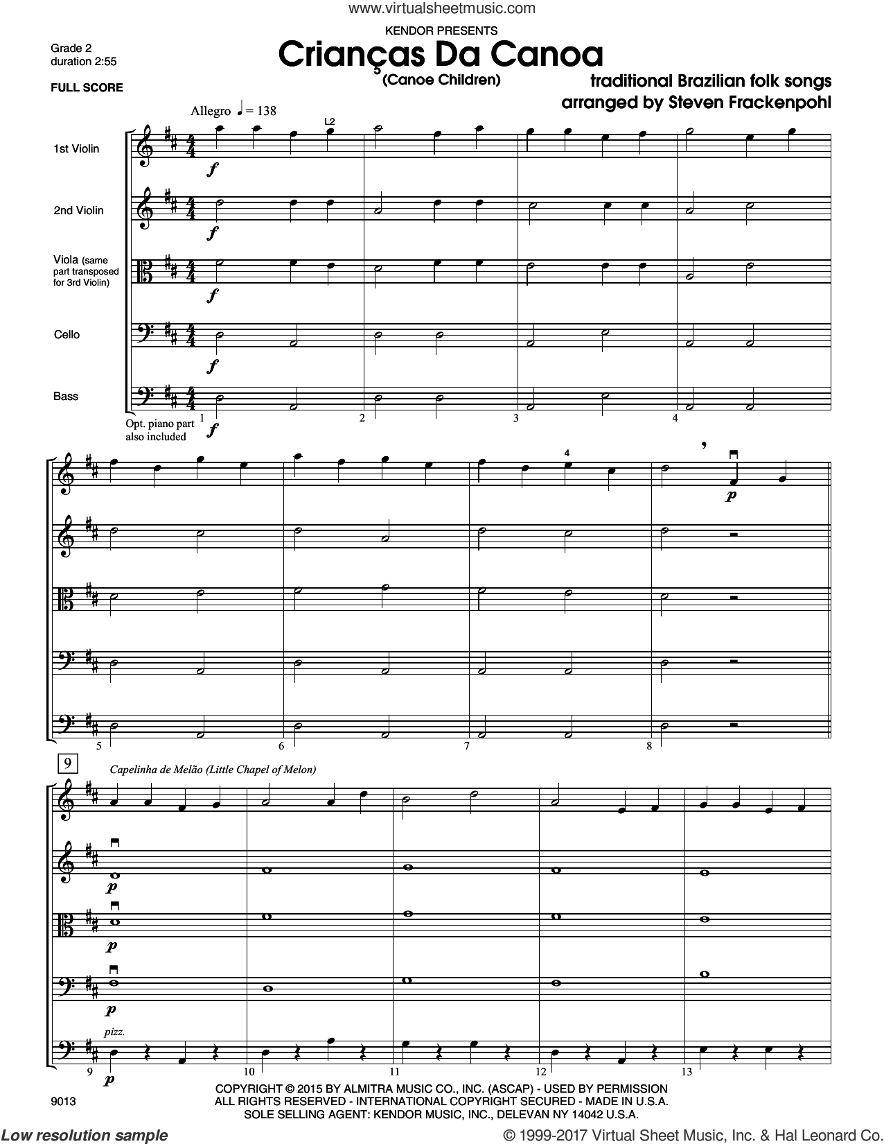 Criancas Da Canoa (Canoe Children) (COMPLETE) sheet music for orchestra by Steve Frackenpohl, intermediate