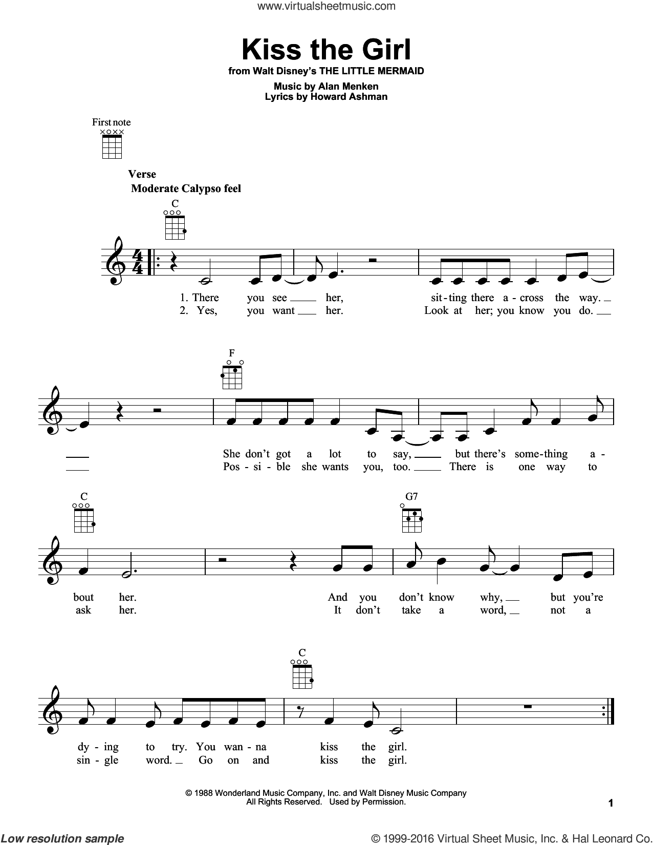 Kiss The Girl sheet music for ukulele by Howard Ashman and Alan Menken. Score Image Preview.