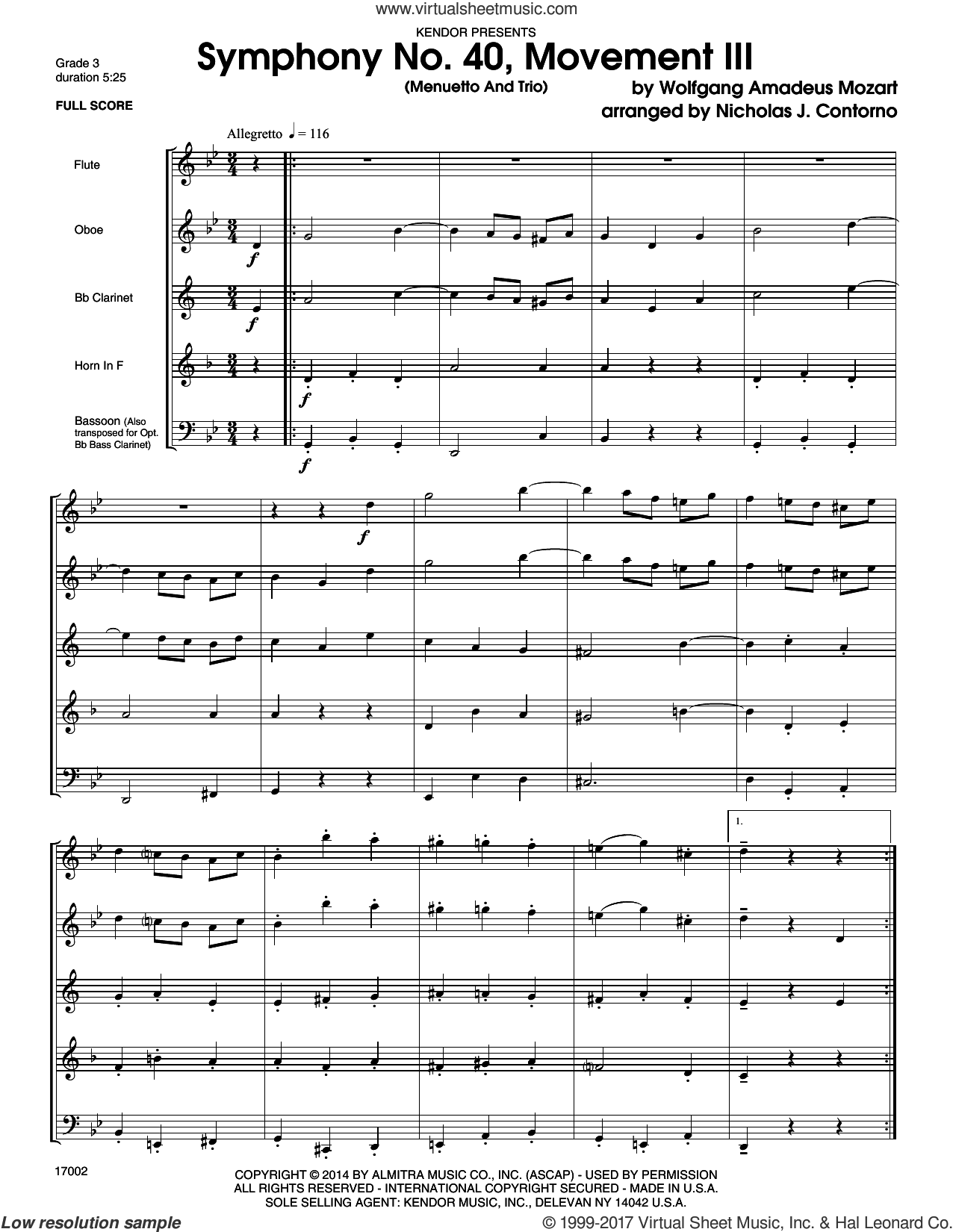 Symphony No. 40, Movement III (Menuetto And Trio) (COMPLETE) sheet music for wind quintet by Ludwig van Beethoven and Nicholas Contorno, classical score, intermediate. Score Image Preview.