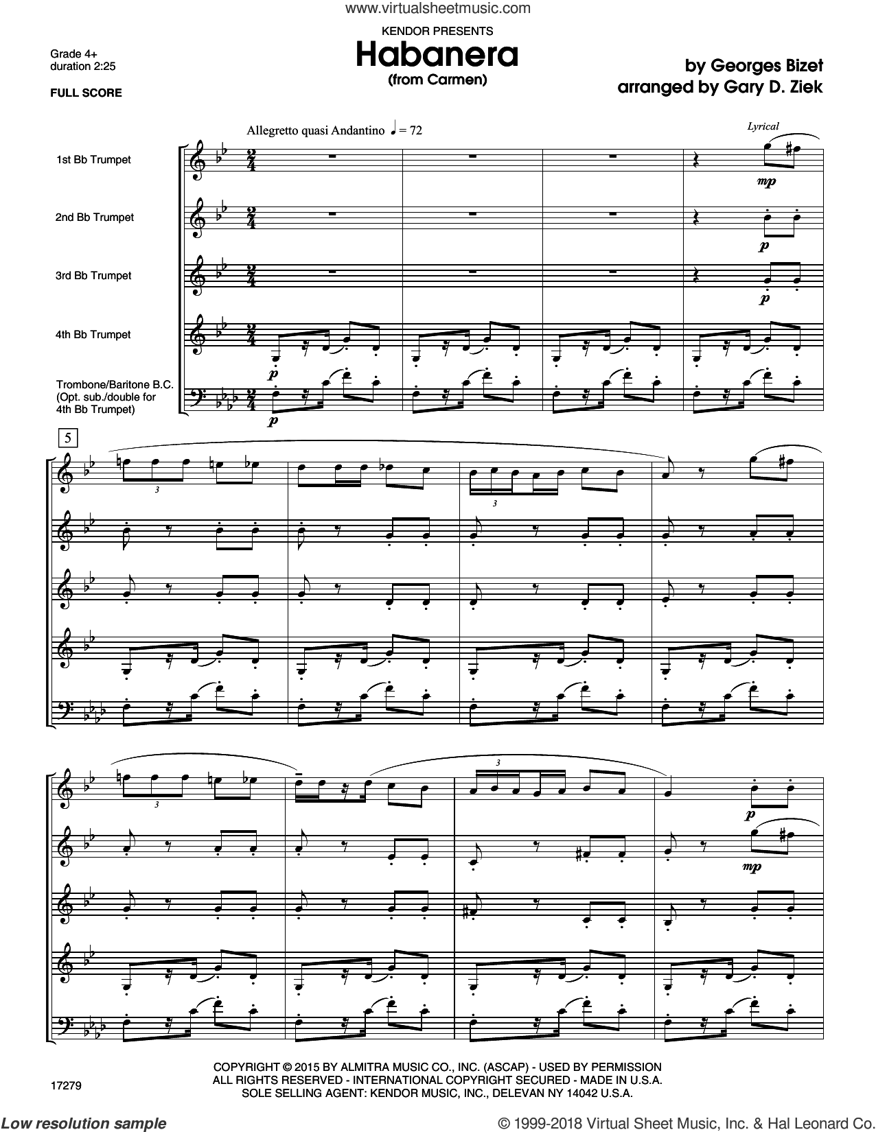 Habanera (from Carmen) (COMPLETE) sheet music for brass quintet by Georges Bizet and Gary Ziek, classical score, intermediate. Score Image Preview.