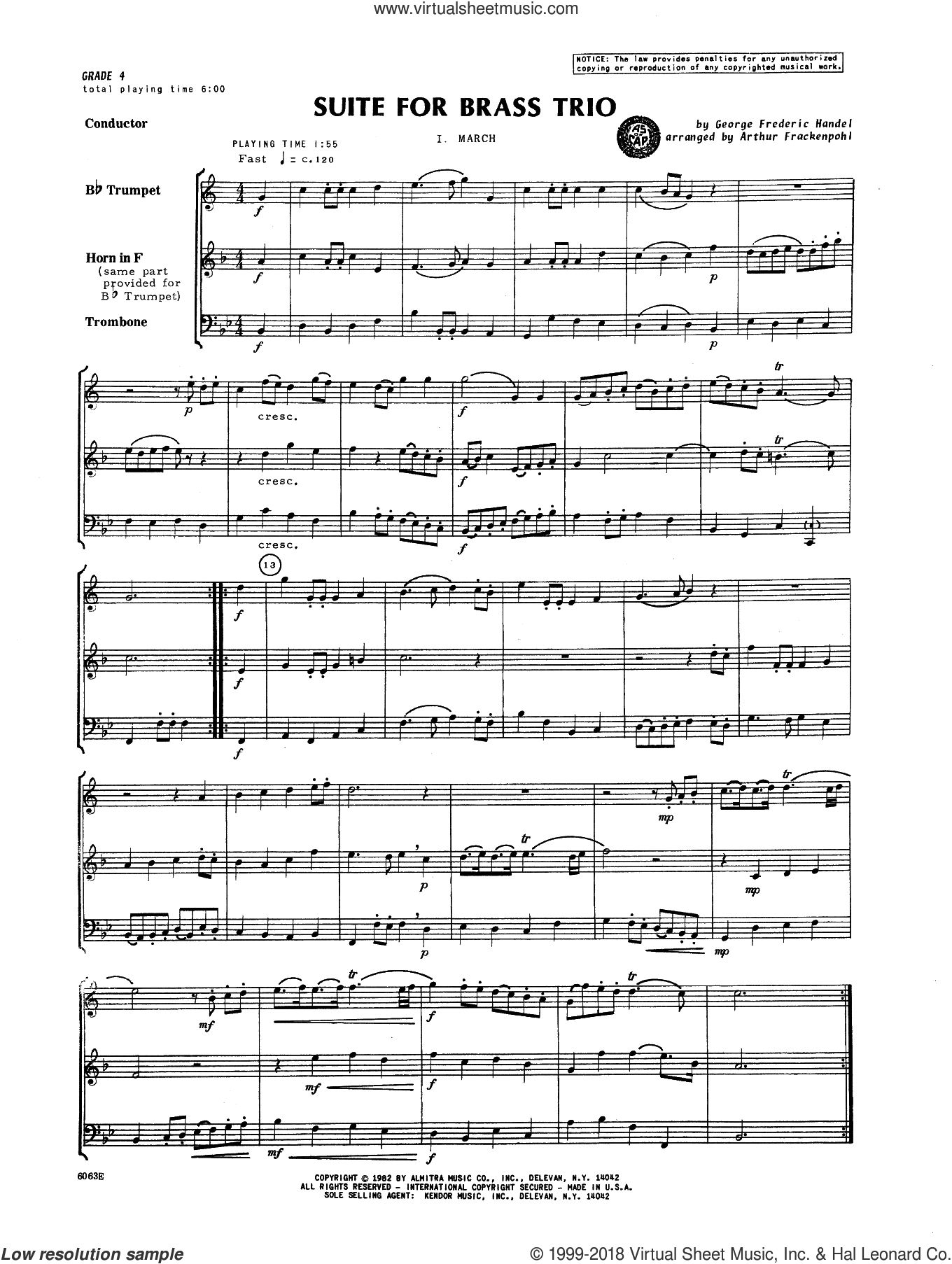 Suite For Brass Trio (COMPLETE) sheet music for brass trio by George Frideric Handel and Arthur Frackenpohl, classical score, intermediate brass trio. Score Image Preview.