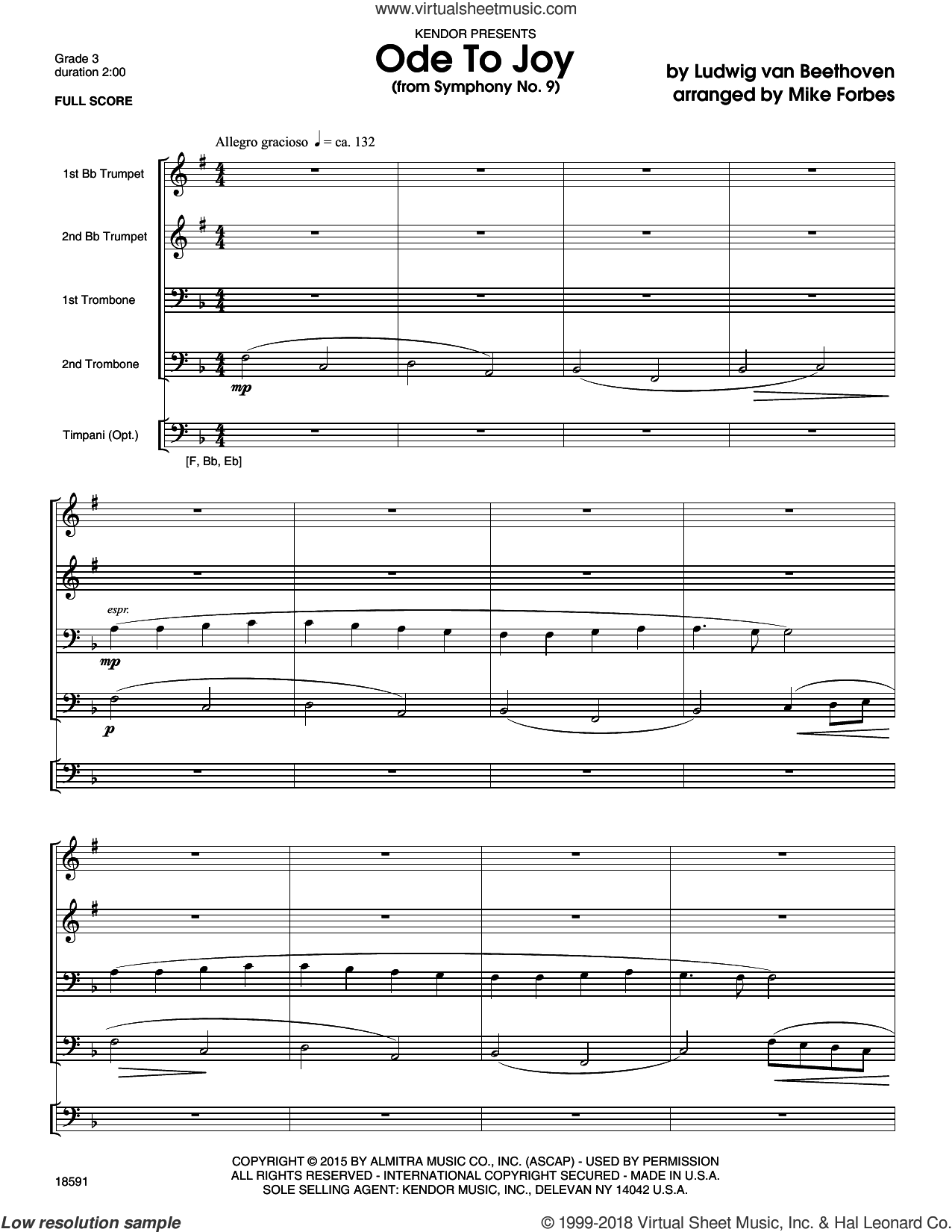 Ode To Joy (from Symphony No. 9) (COMPLETE) sheet music for four trumpets by Ludwig van Beethoven and Michael Forbes, classical score, intermediate skill level