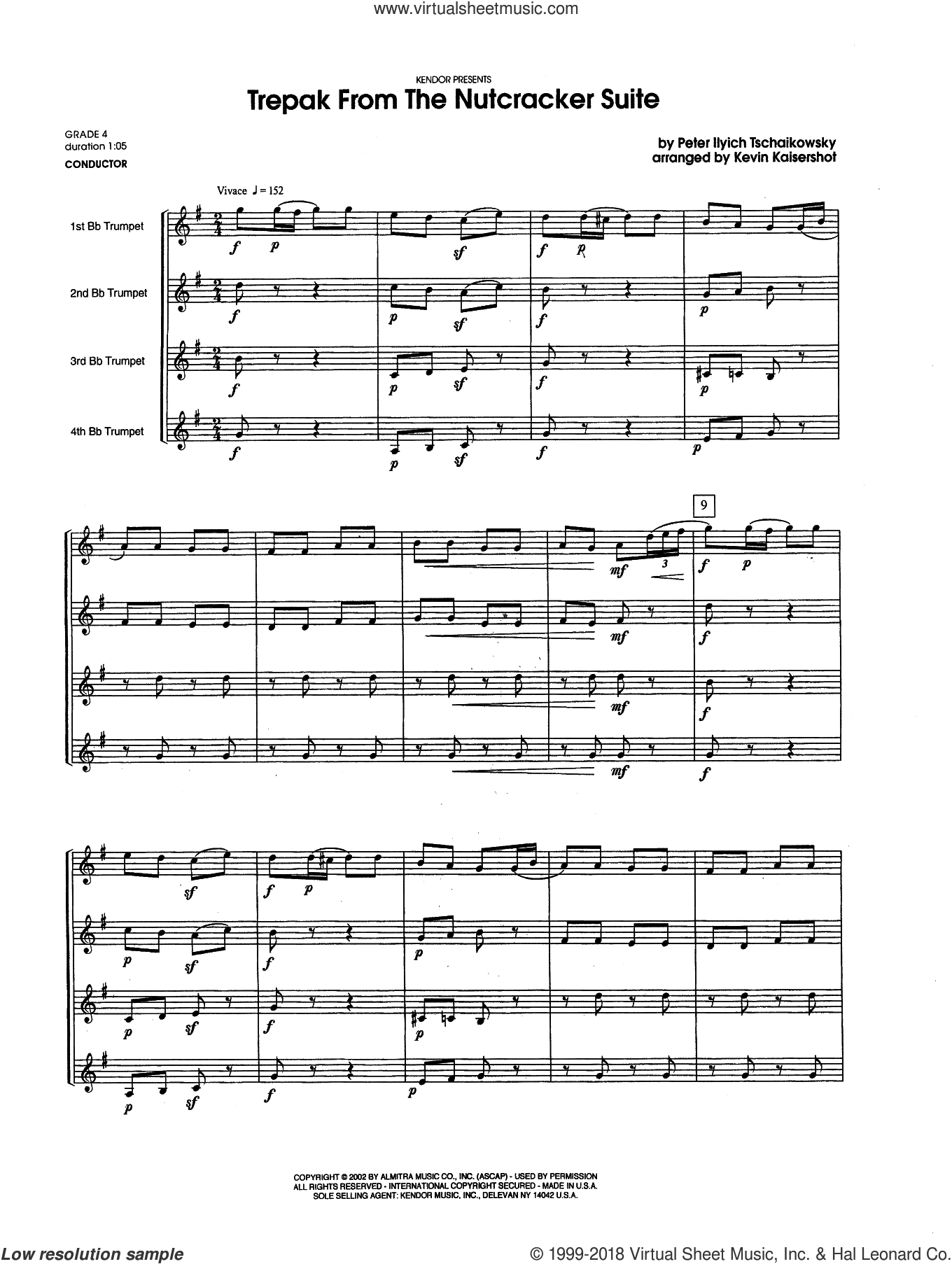 Trepak From The Nutcracker Suite (COMPLETE) sheet music for four trumpets by Kevin Kaisershot, Pyotr Ilyich Tchaikovsky and Tschaikowsky, classical score, intermediate. Score Image Preview.