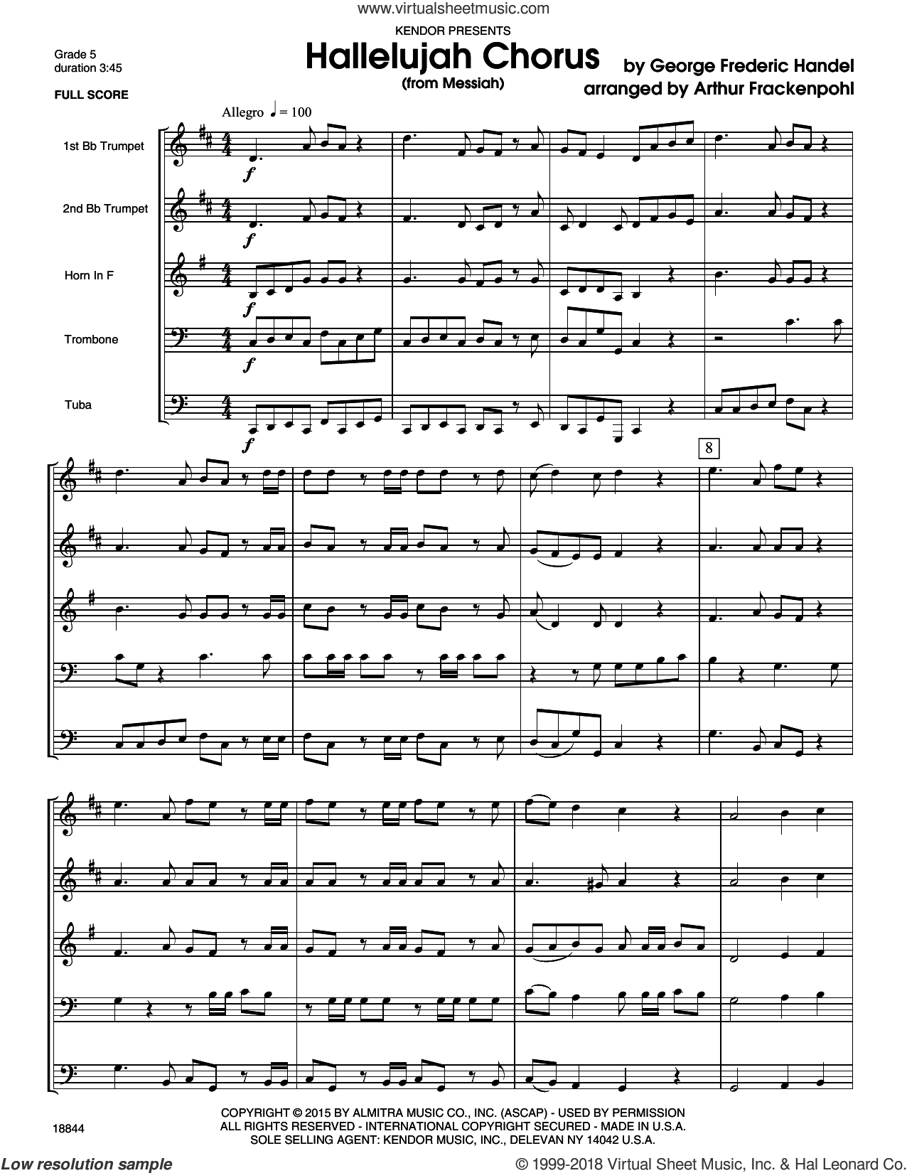 Hallelujah Chorus (from Messia) (COMPLETE) sheet music for brass quintet by George Frideric Handel and Arthur Frackenpohl, classical score, intermediate. Score Image Preview.